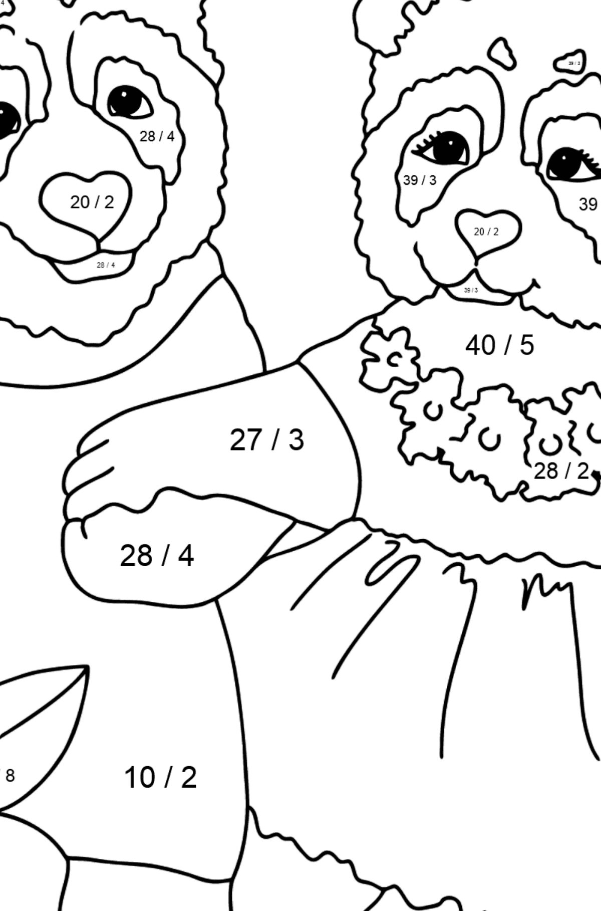 Coloring Page - Pandas are Taking a Walk - Math Coloring - Division for Kids