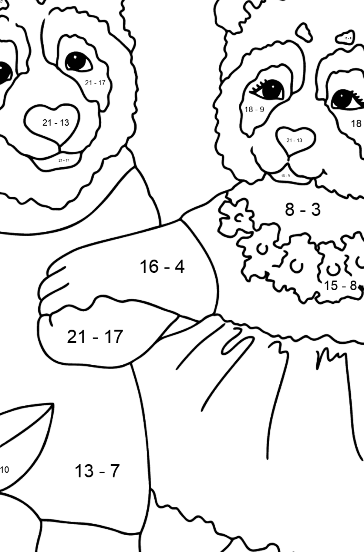 Coloring Page - Pandas are Taking a Walk - Math Coloring - Subtraction for Kids