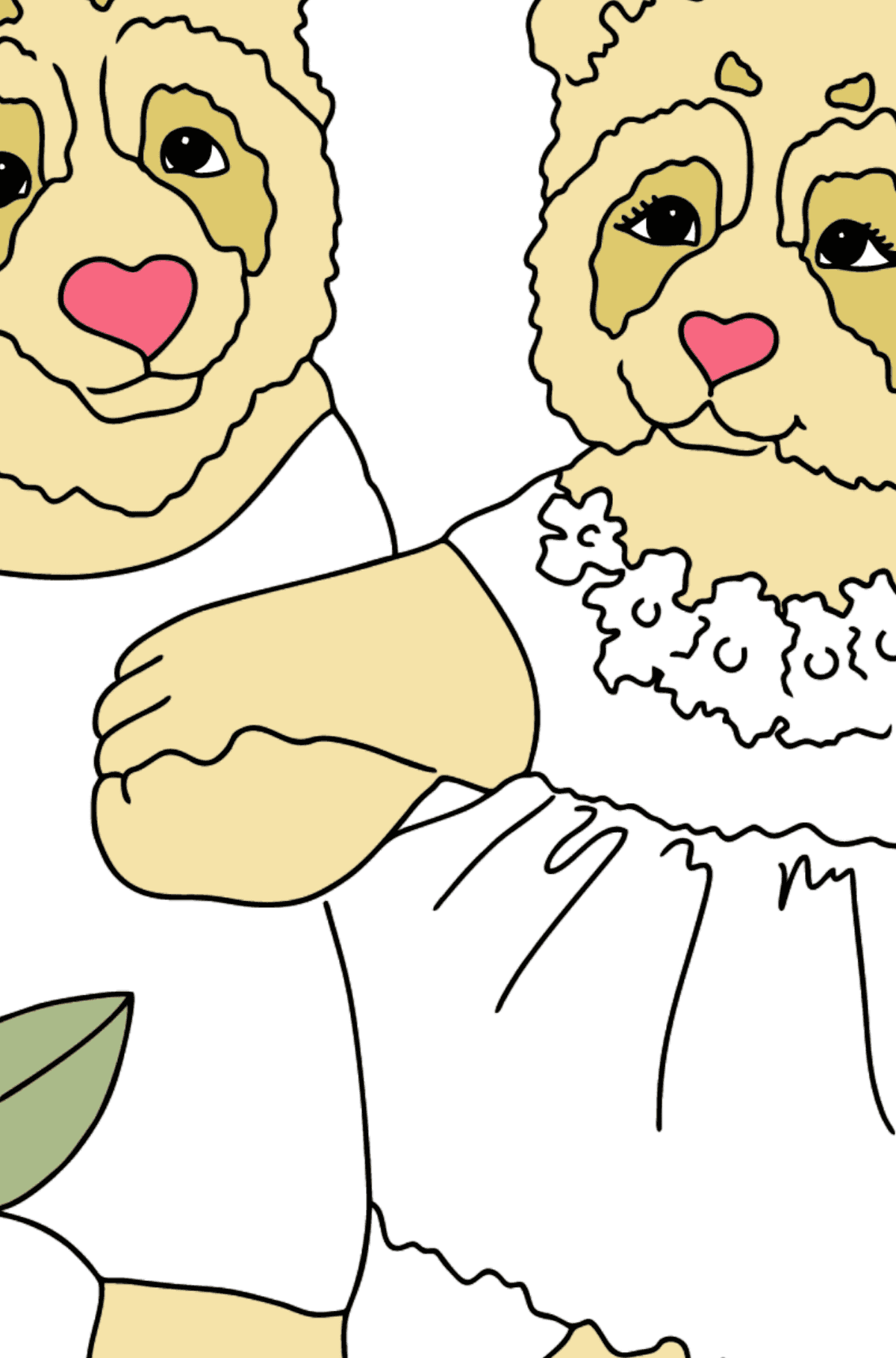 Coloring Page - Pandas Taking a Walk - Coloring by Numbers for Kids