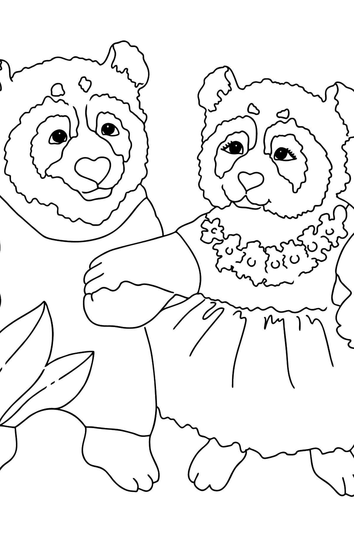 Coloring Page - Pandas Taking a Walk - Coloring Pages for Kids