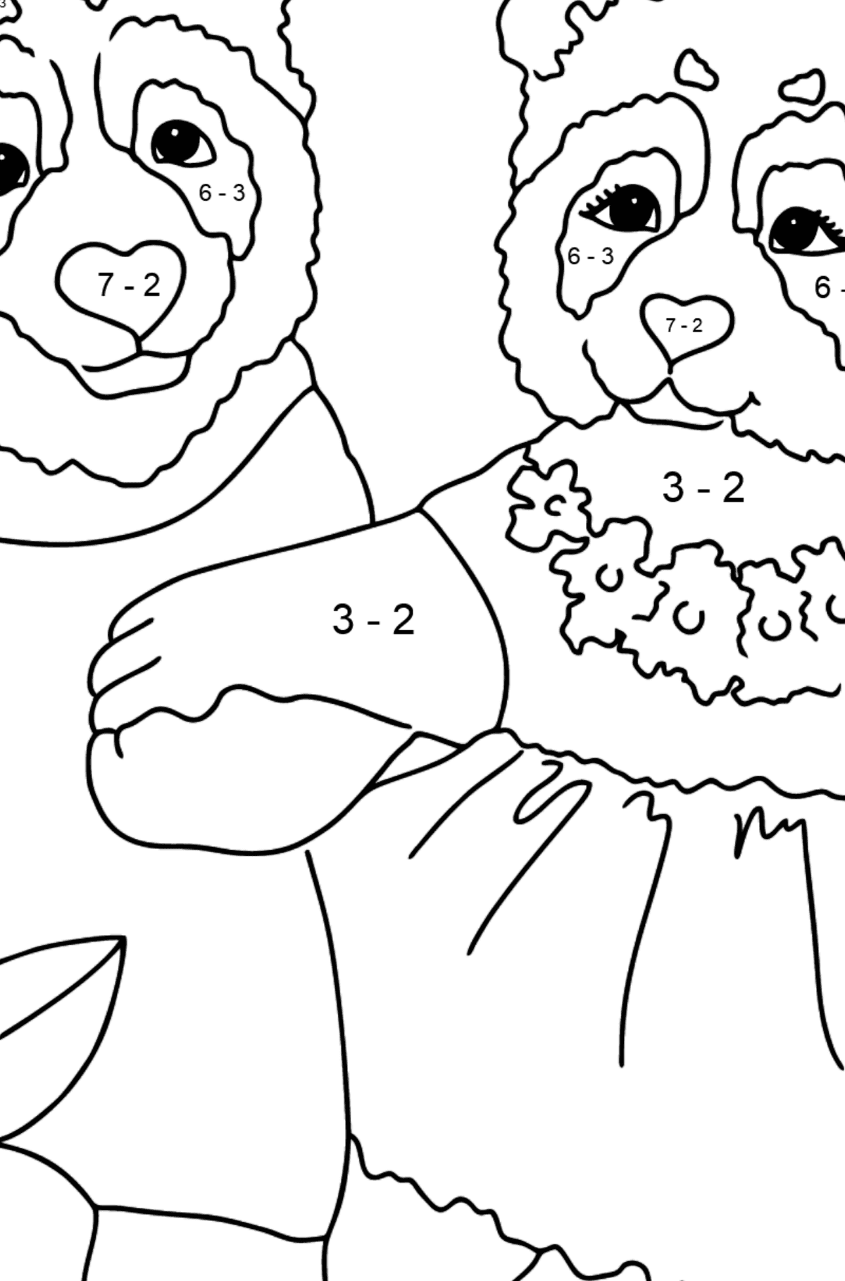 Coloring Page - Pandas Taking a Walk - Math Coloring - Subtraction for Kids