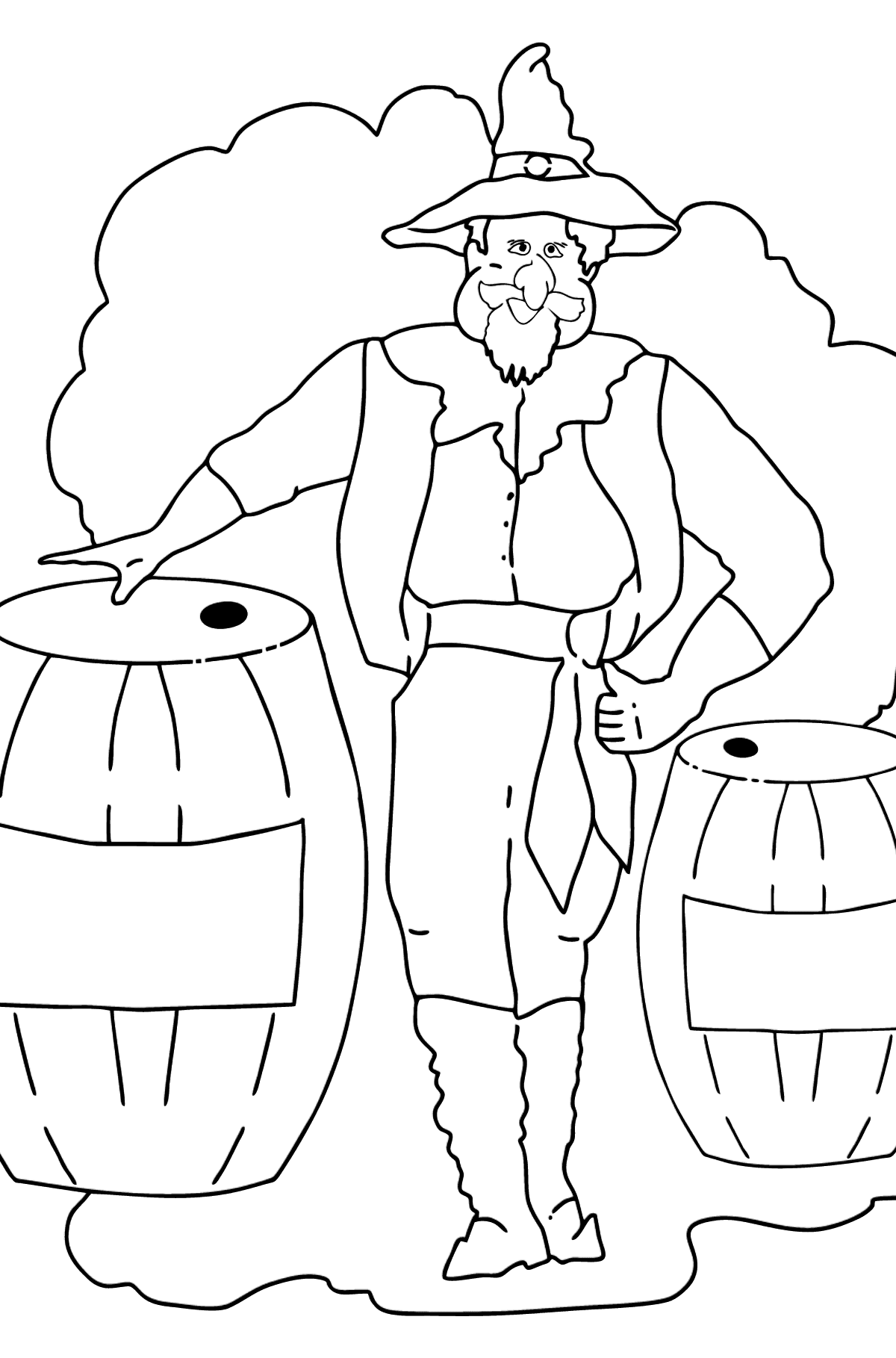 Coloring Page - A Pirate and Lemonade - Coloring Pages for Kids