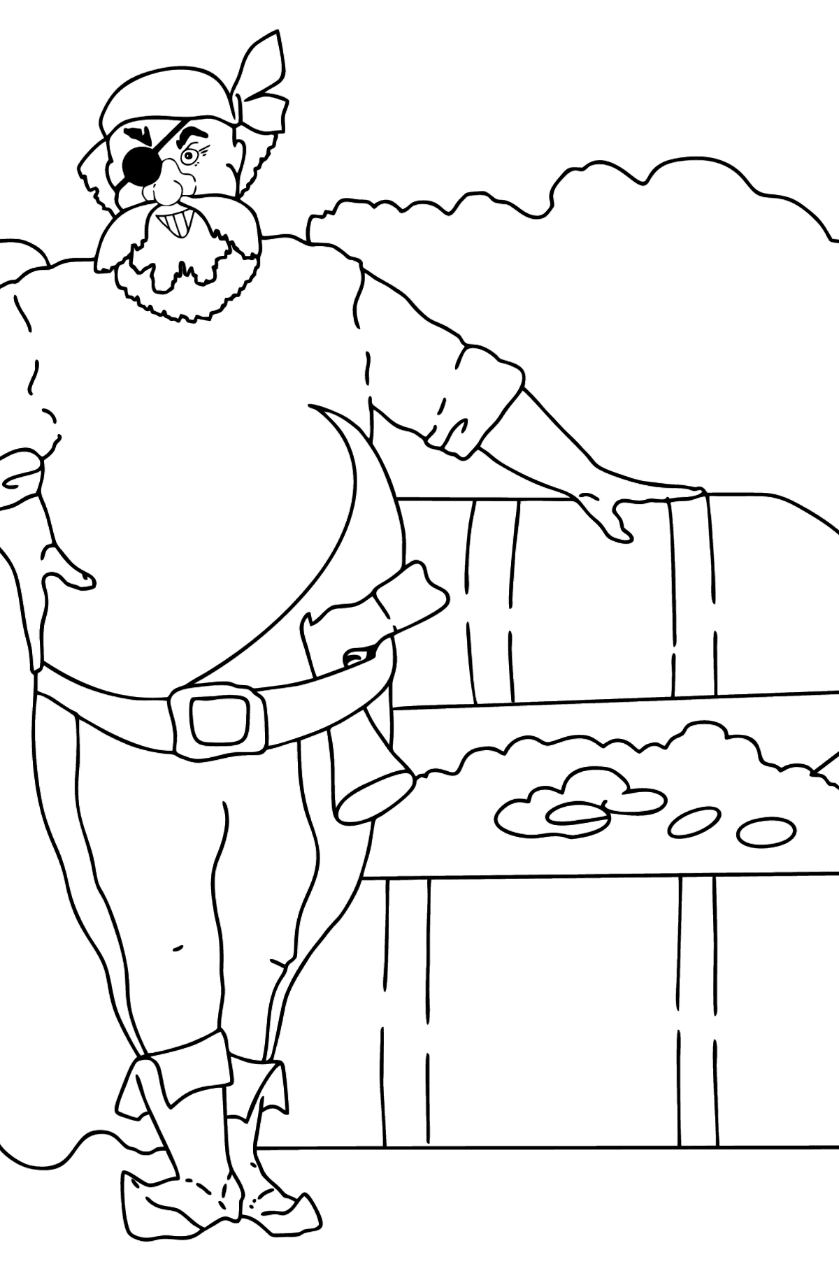 Coloring Page - A Pirate has Found a Treasure - Coloring Pages for Kids