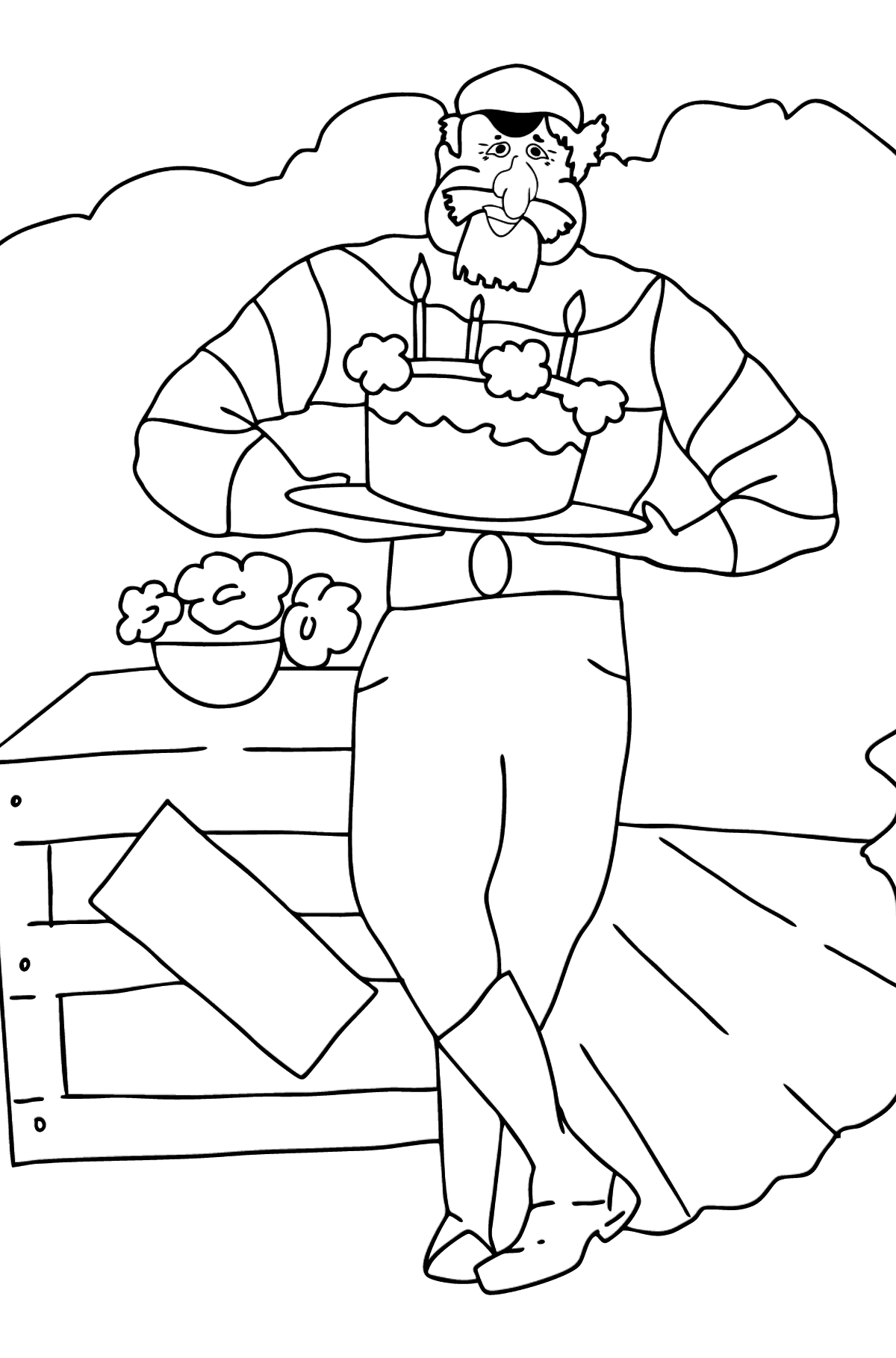 Coloring Page - A Pirate is Celebrating his Birthday - Coloring Pages for Kids