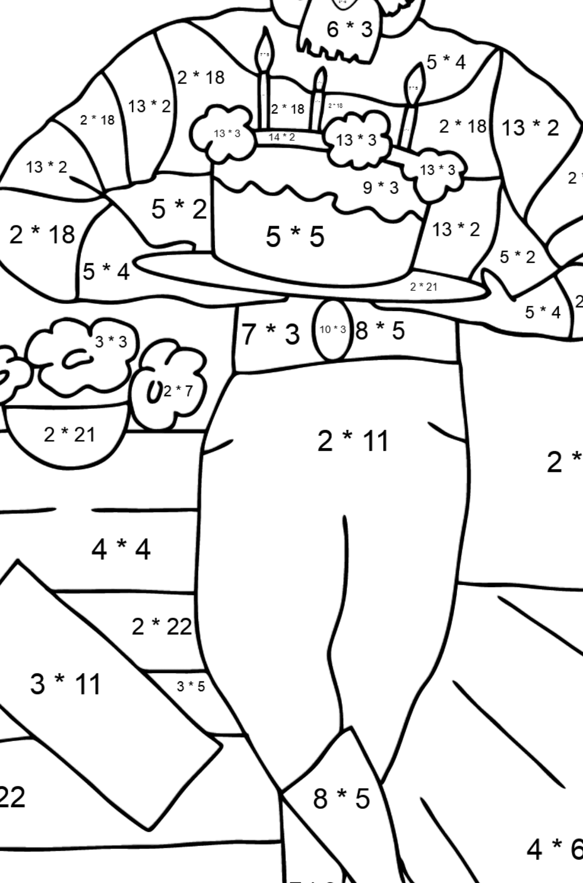 Coloring Page - A Pirate is Celebrating his Birthday - Math Coloring - Multiplication for Kids