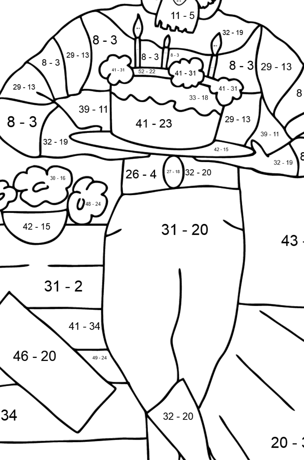 Coloring Page - A Pirate is Celebrating his Birthday - Math Coloring - Subtraction for Kids