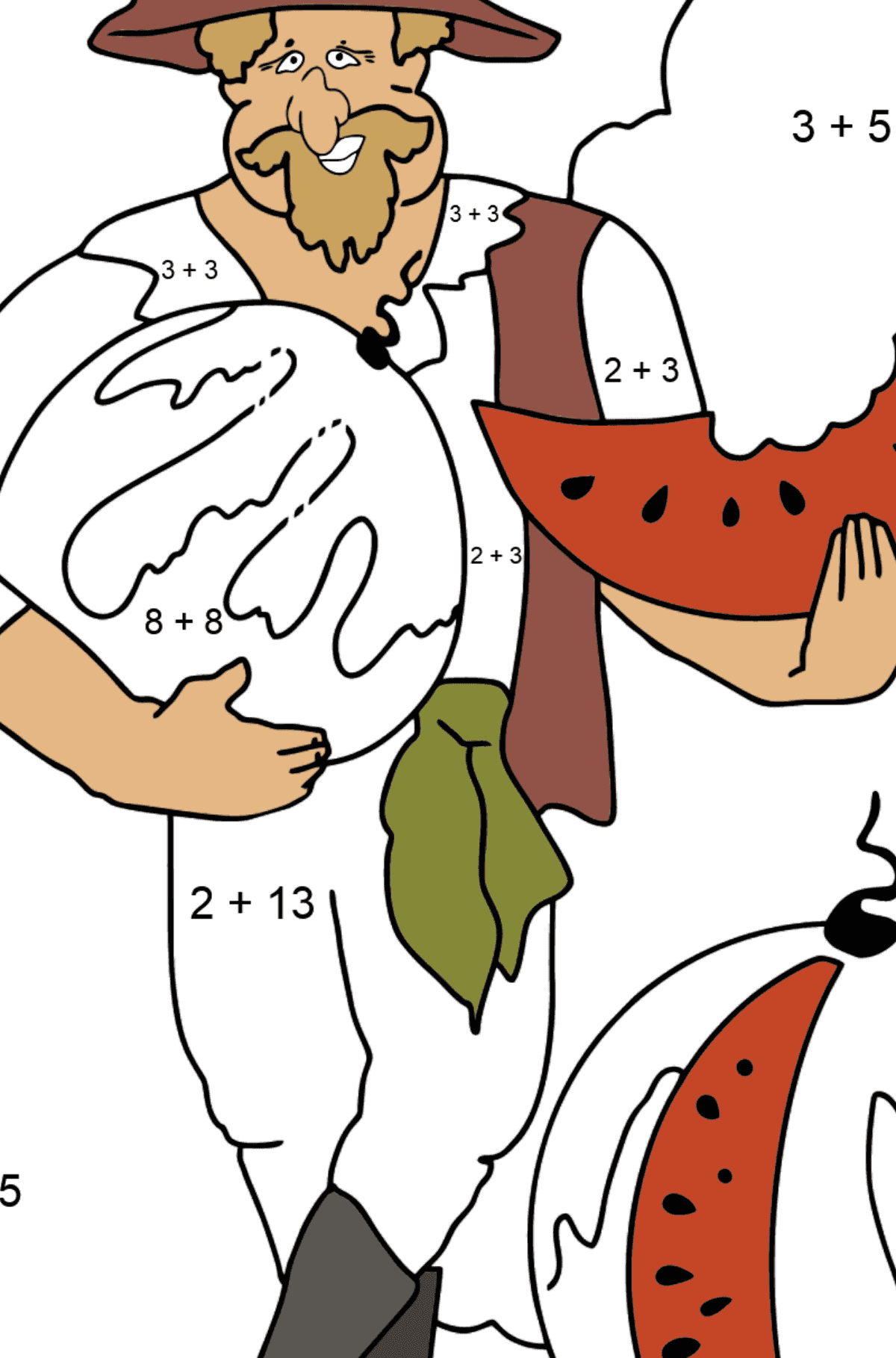 Coloring Page - A Pirate is Eating a Tasty Watermelon - Math Coloring - Addition for Kids