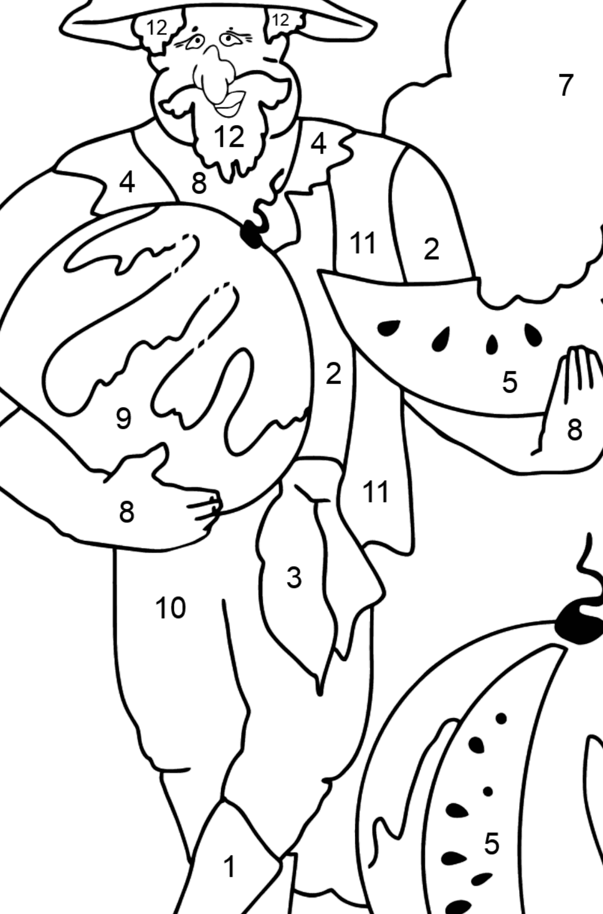 Coloring Page - A Pirate is Eating a Tasty Watermelon - Coloring by Numbers for Kids