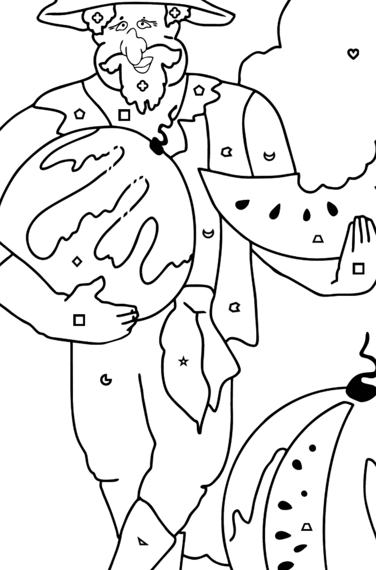Coloring Page - A Pirate is Eating a Tasty Watermelon - Coloring by Geometric Shapes for Kids