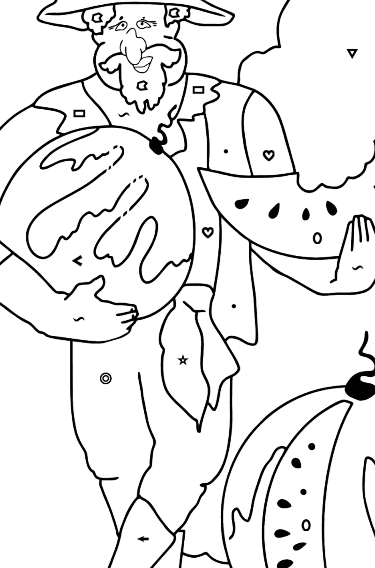 Coloring Page - A Pirate is Eating a Tasty Watermelon - Coloring by Symbols and Geometric Shapes for Kids