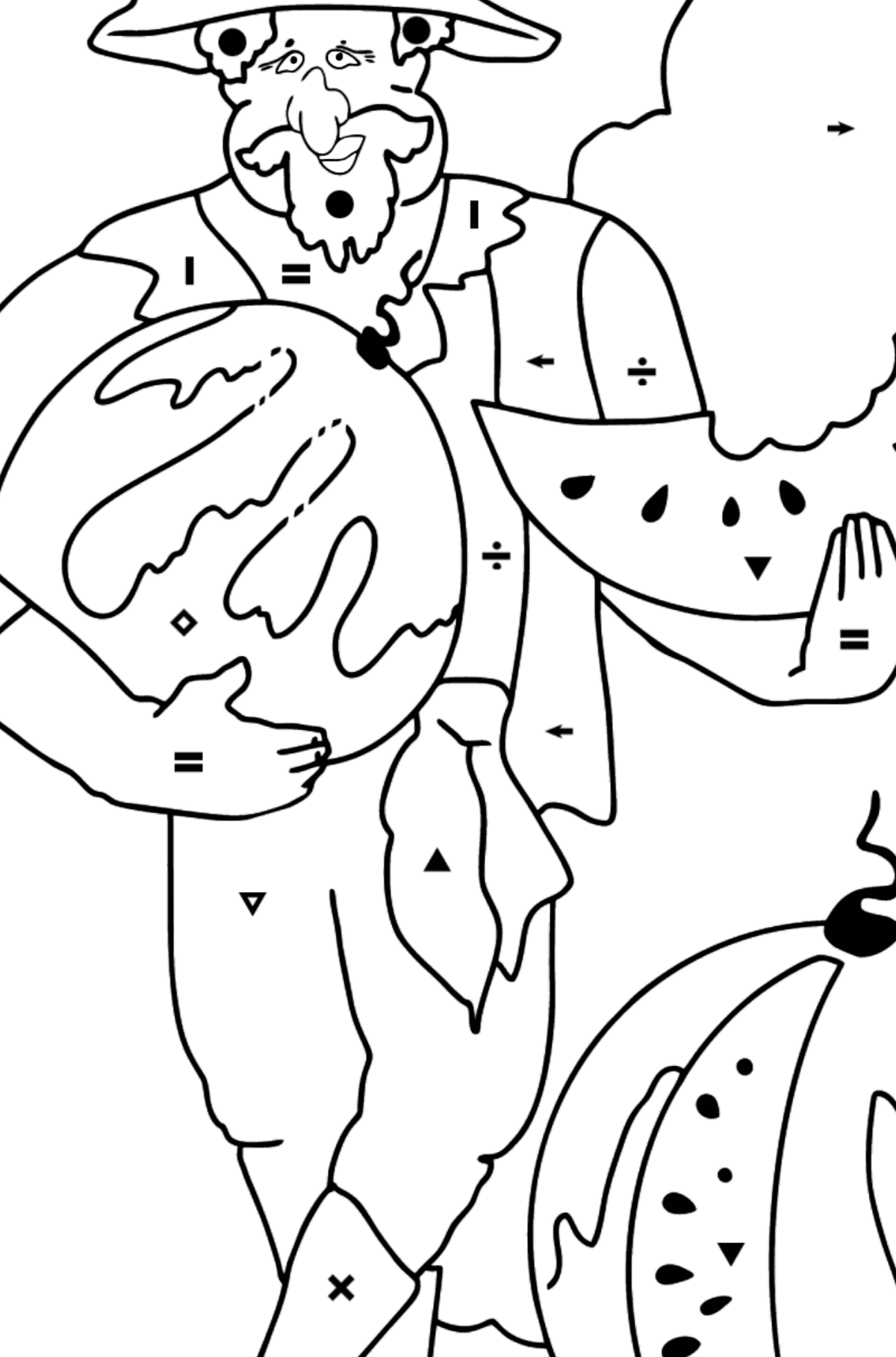 Coloring Page - A Pirate is Eating a Tasty Watermelon - Coloring by Symbols for Kids