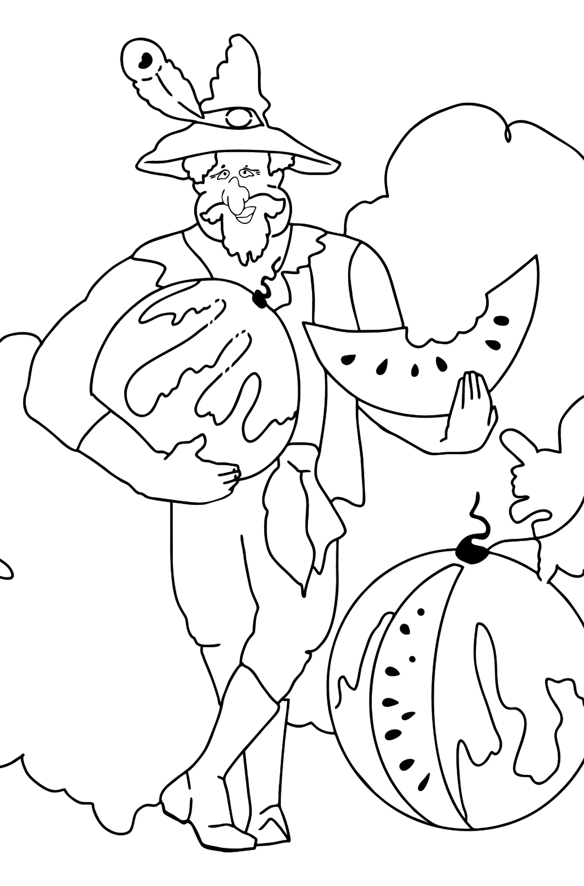 Coloring Page - A Pirate is Eating a Tasty Watermelon - Coloring Pages for Kids