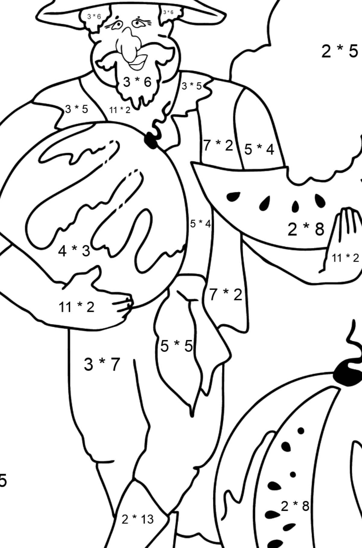 Coloring Page - A Pirate is Eating a Tasty Watermelon - Math Coloring - Multiplication for Kids