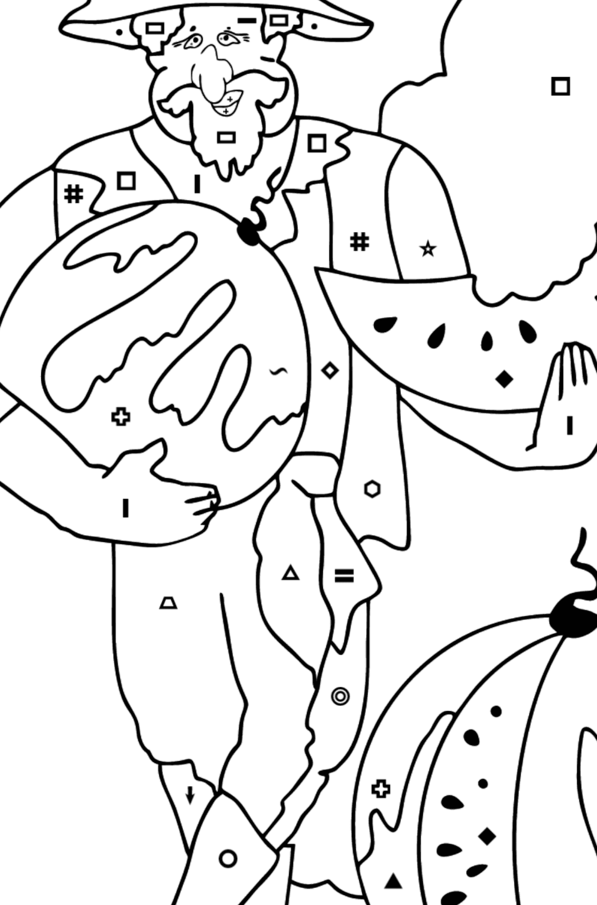 Coloring Page - A Pirate is Sharing a Ripe Watermelon - Coloring by Symbols and Geometric Shapes for Kids