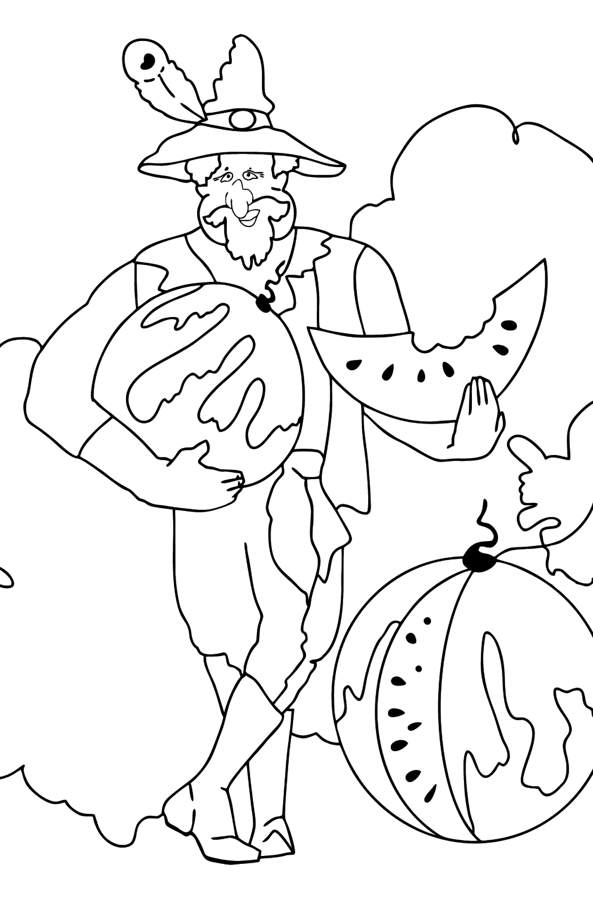 Coloring Page - A Pirate is Sharing a Ripe Watermelon - Coloring Pages for Kids