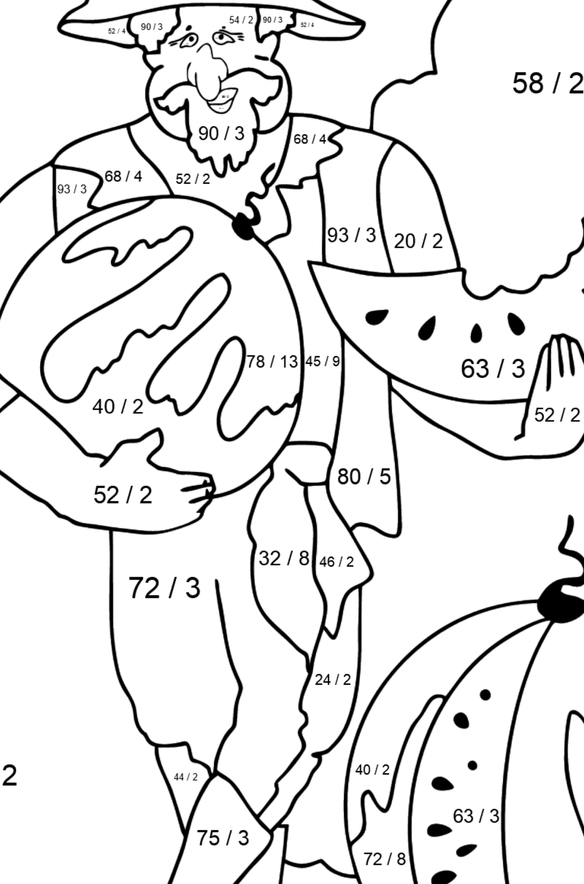 Coloring Page - A Pirate is Sharing a Ripe Watermelon - Math Coloring - Division for Kids
