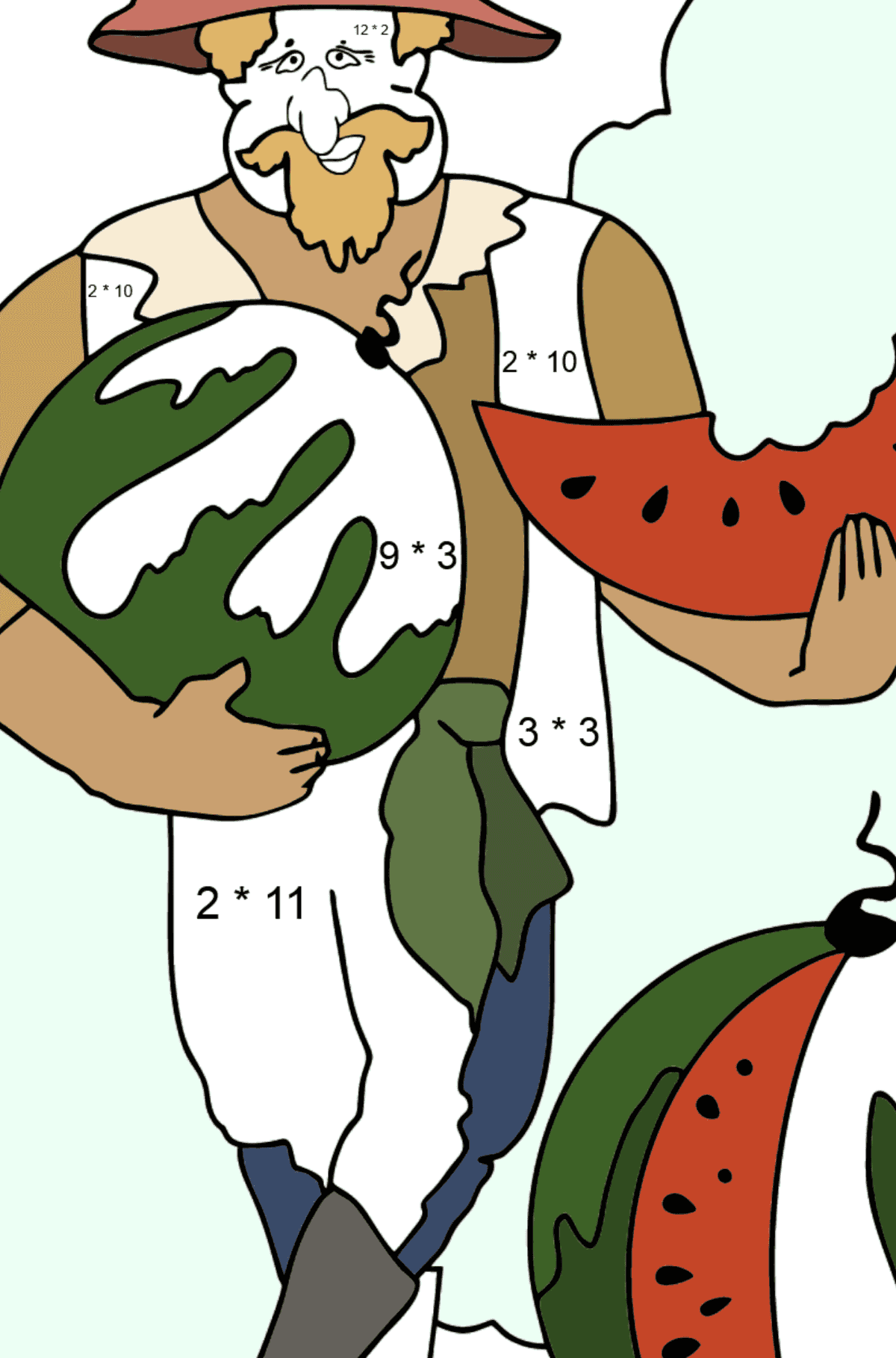 Coloring Page - A Pirate is Sharing a Ripe Watermelon - Math Coloring - Multiplication for Kids