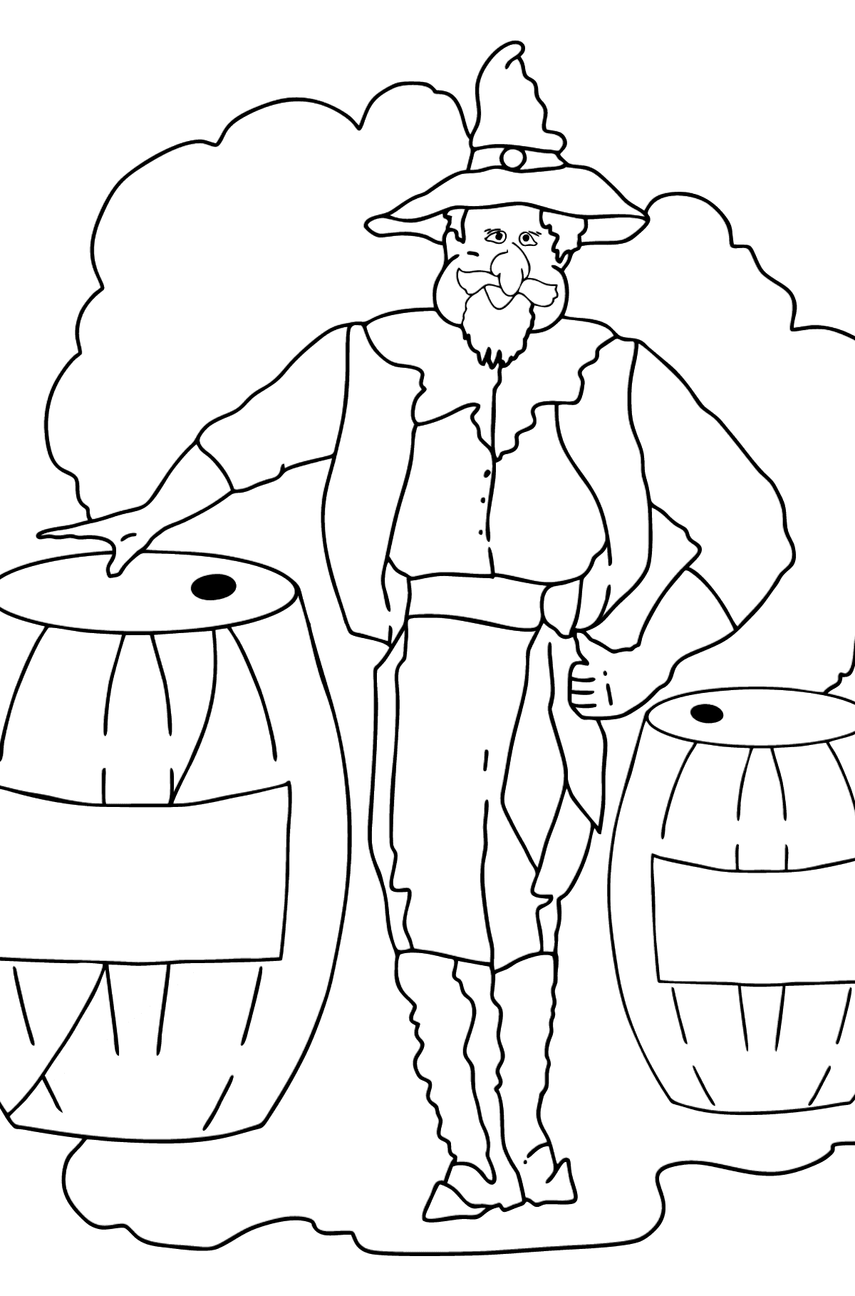 Coloring Page - A Pirate is Sharing Tasty Lemonade with the Crew - Coloring Pages for Kids