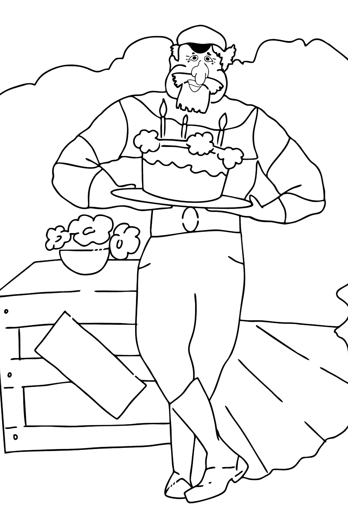 Простая раскраска Пират - Картинки для Детей