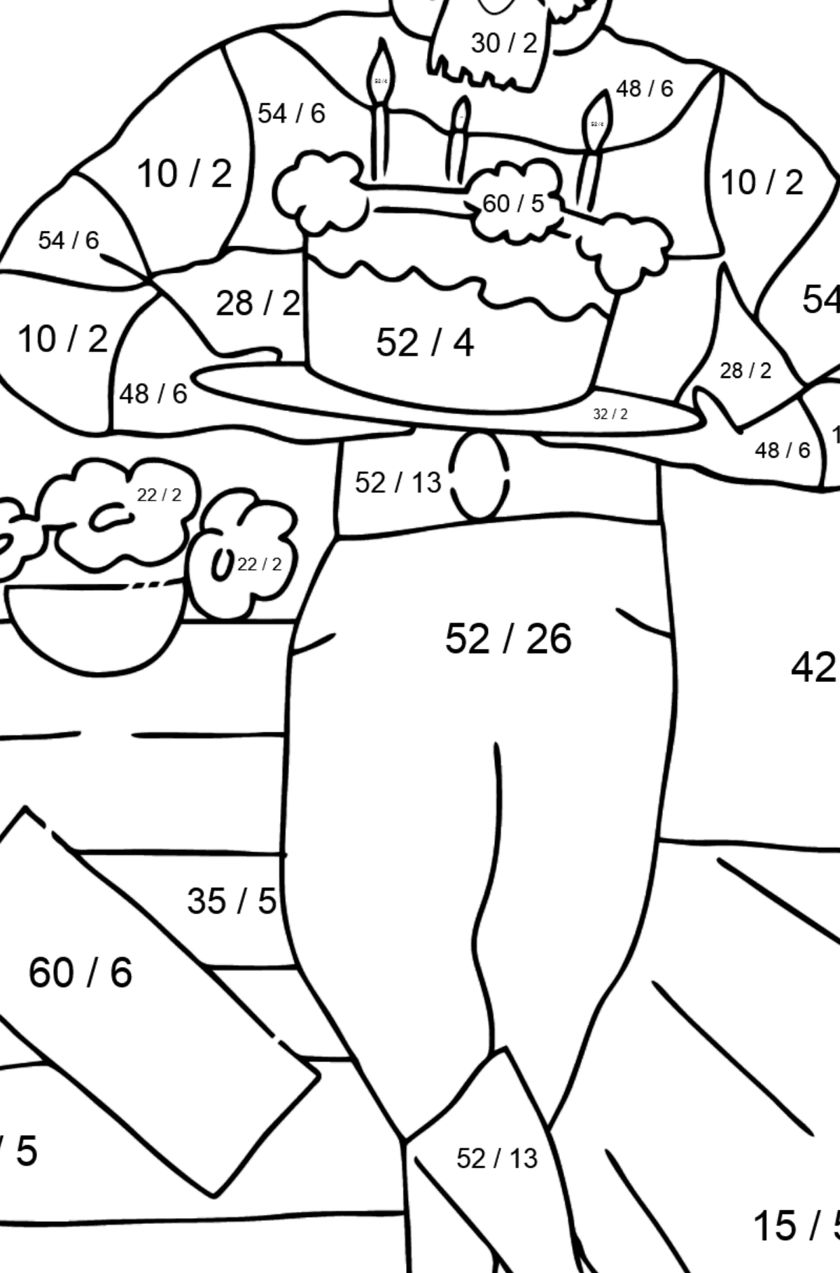 Coloring Page - A Pirate is Waiting for Guests - Math Coloring - Division for Kids