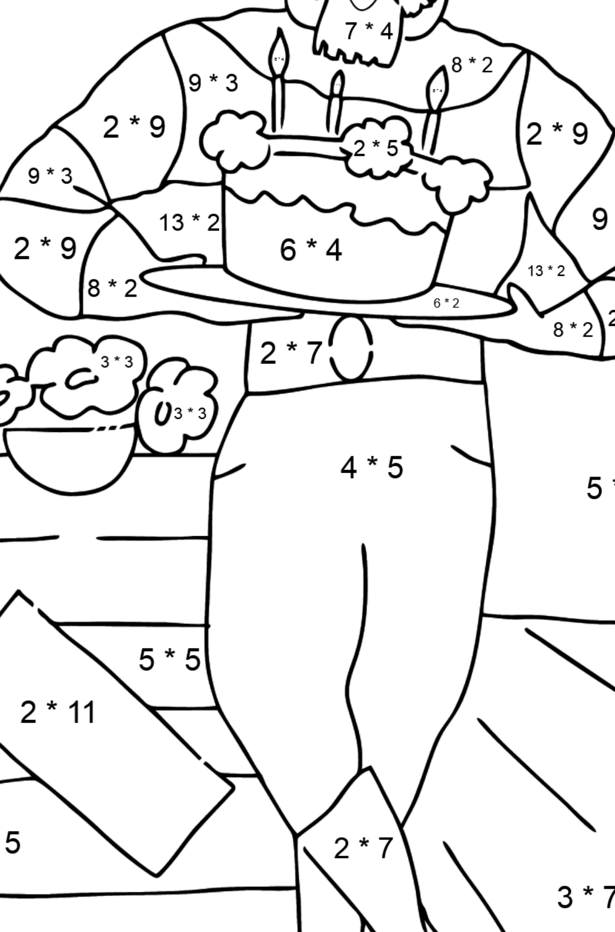 Coloring Page - A Pirate is Waiting for Guests - Math Coloring - Multiplication for Kids
