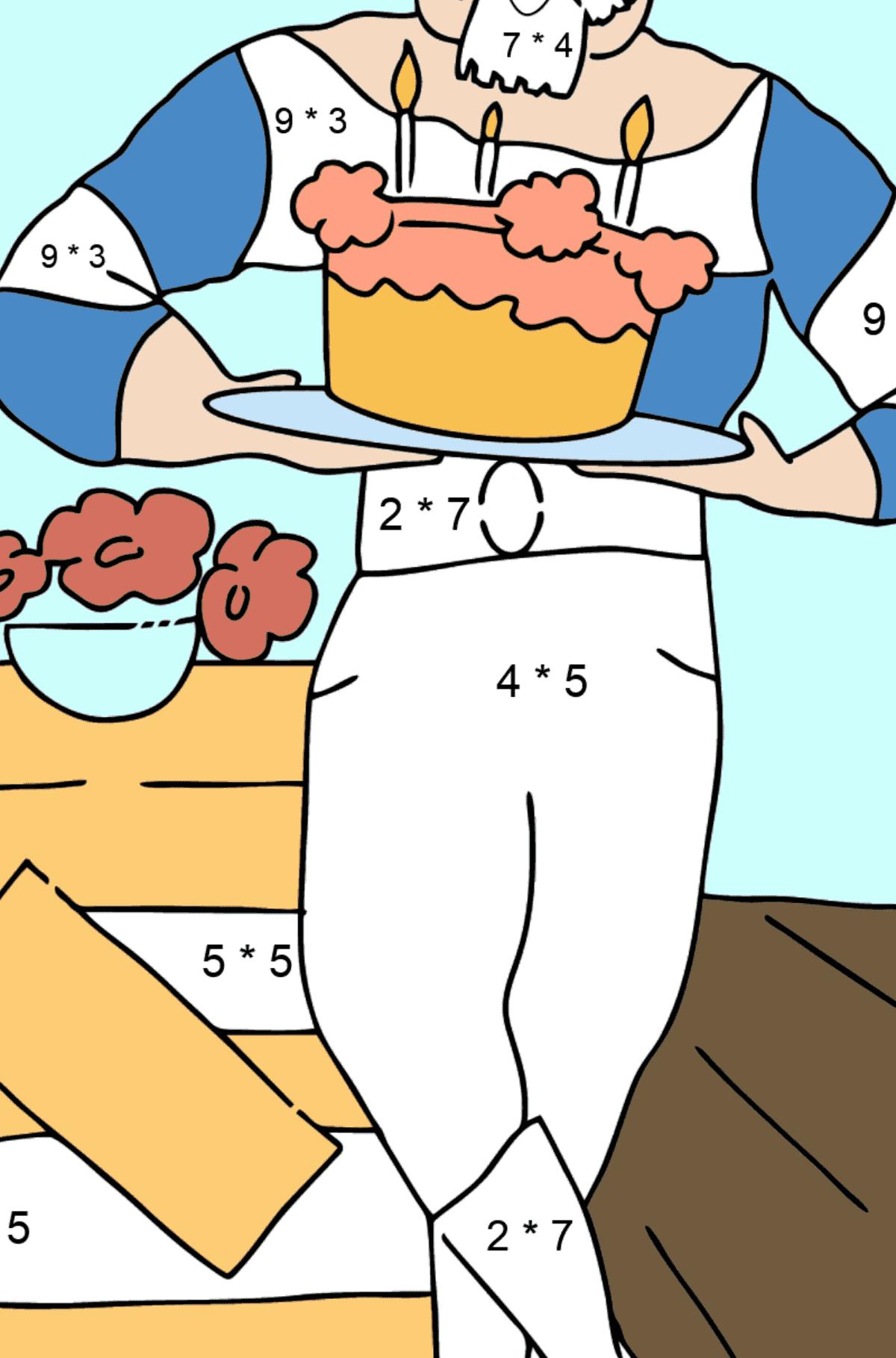 Раскраска пират ждет гостей - Математическая Раскраска - Умножение для Детей