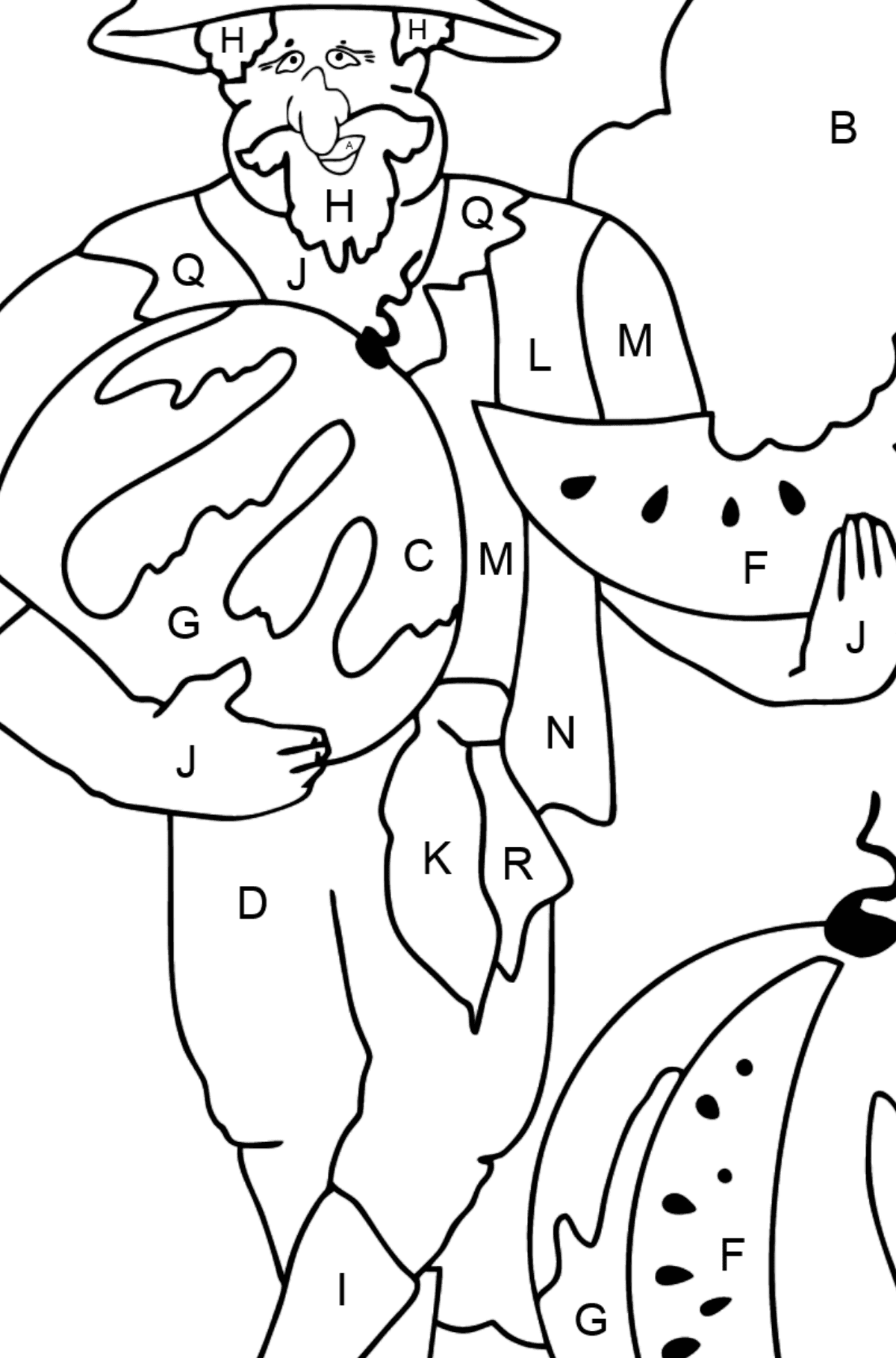 Coloring Page - A Pirate with a Watermelon - Coloring by Letters for Kids