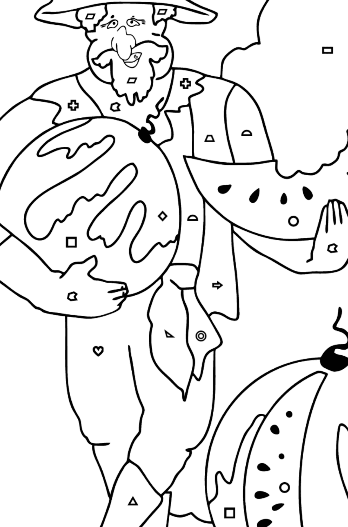 Coloring Page - A Pirate with a Watermelon - Coloring by Geometric Shapes for Kids