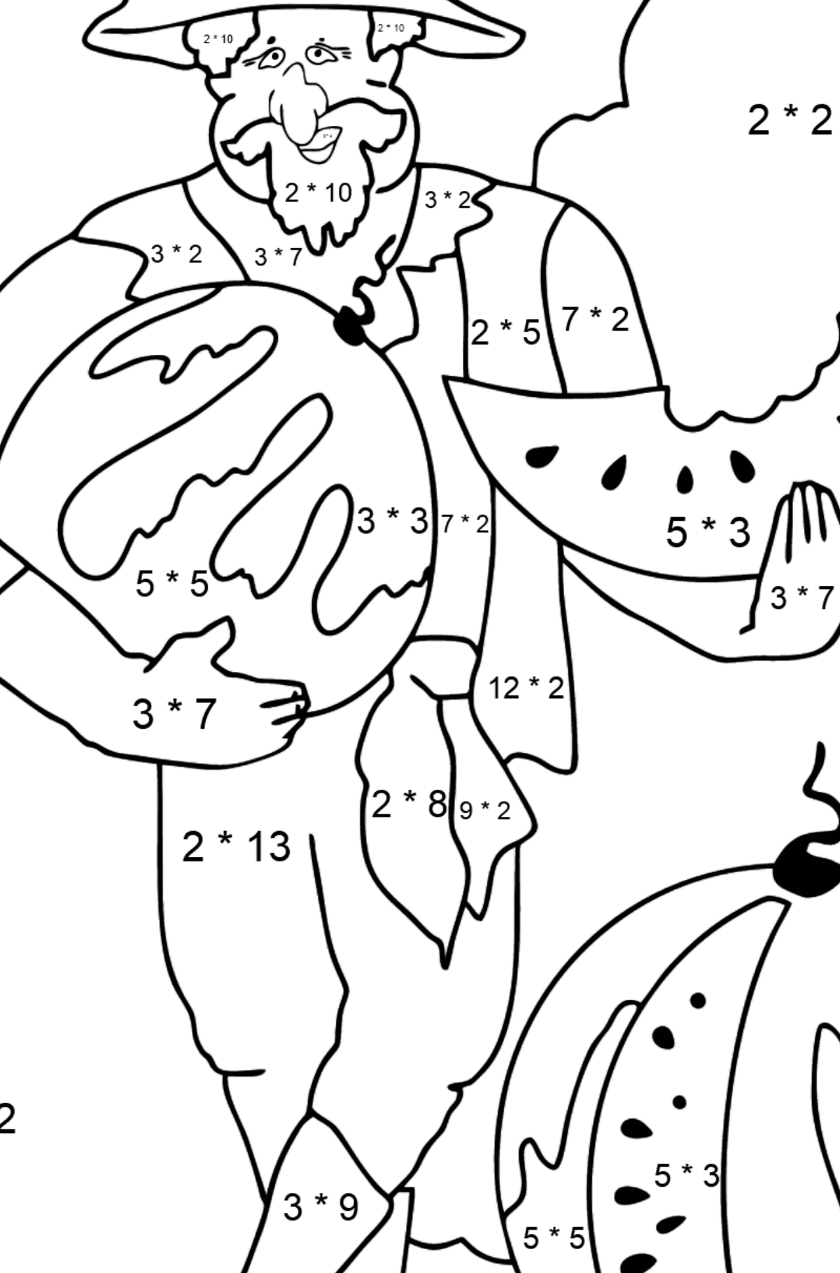 Coloring Page - A Pirate with a Watermelon - Math Coloring - Multiplication for Kids