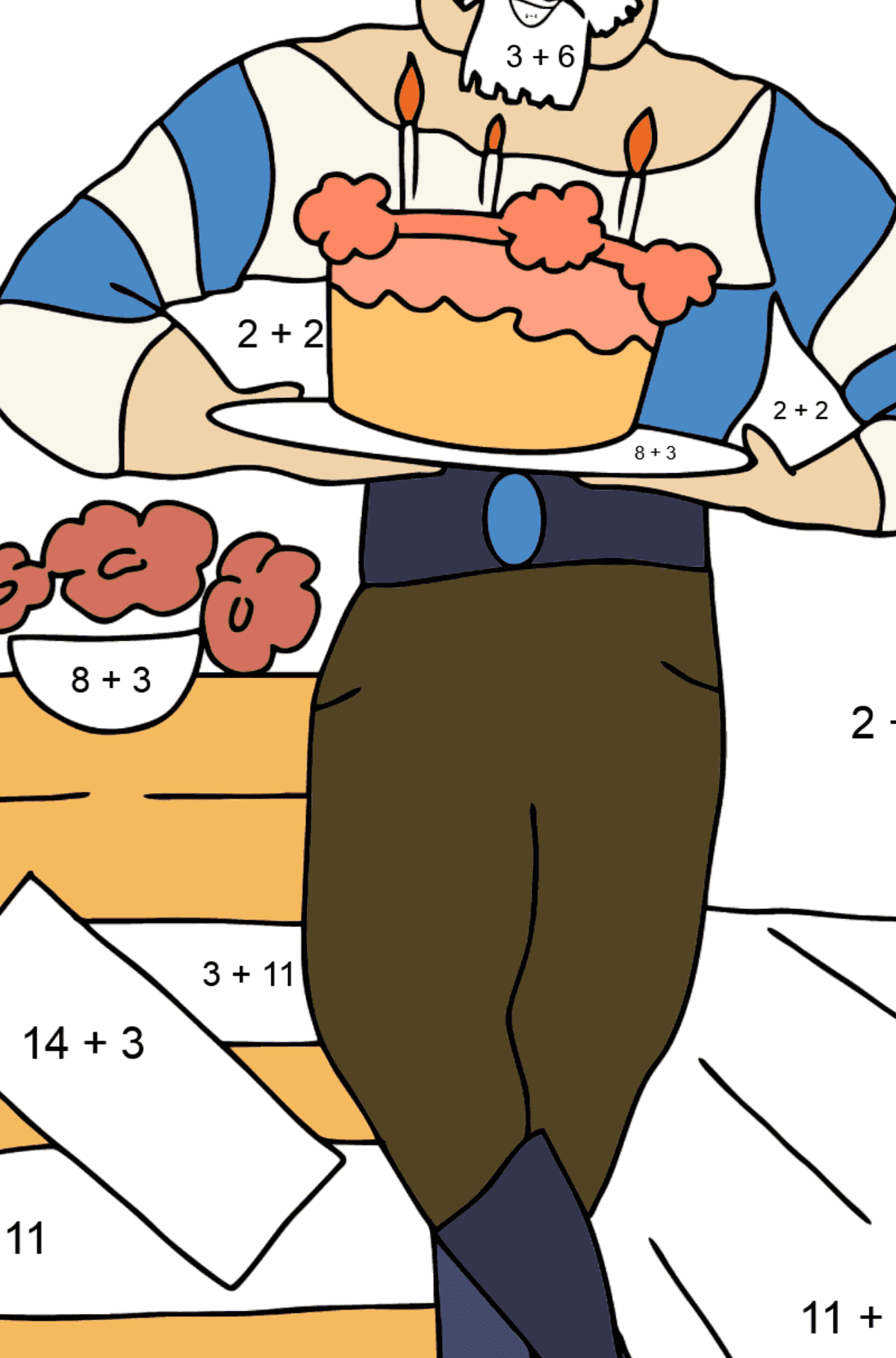 Coloring Page - A Pirate with Cake - Math Coloring - Addition for Kids