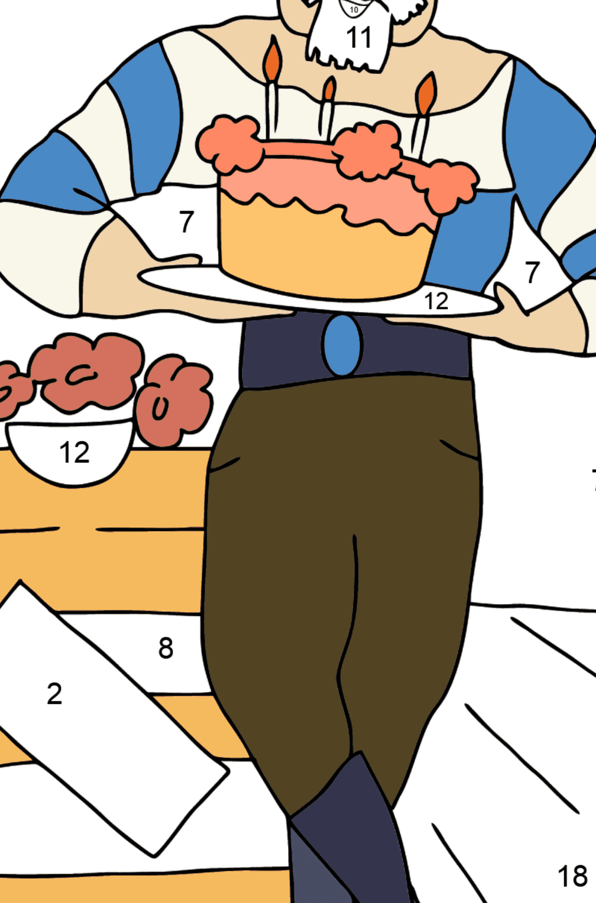Coloring Page - A Pirate with Cake - Coloring by Numbers for Kids