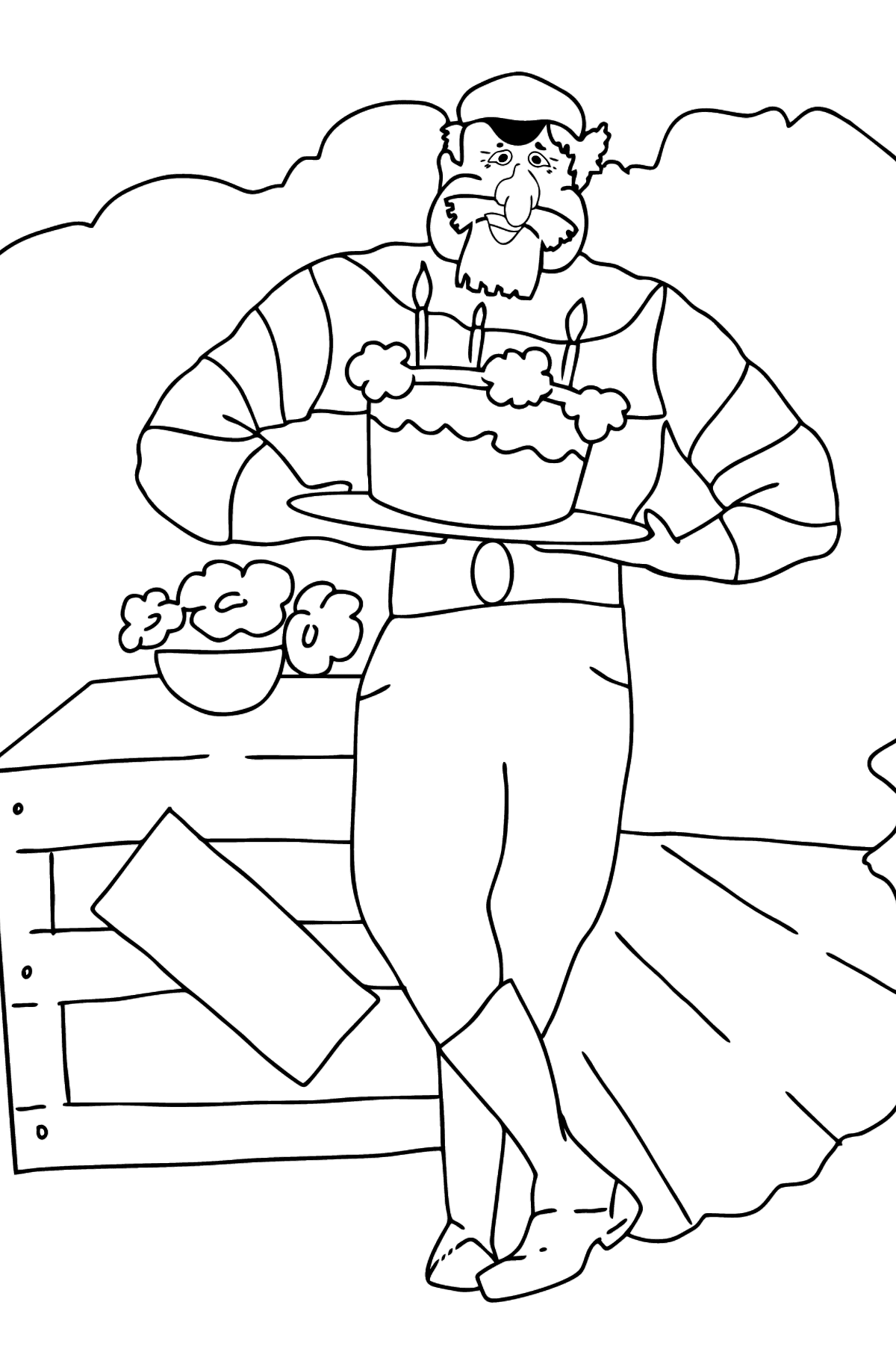 Coloring Page - A Pirate with Cake - Coloring Pages for Kids