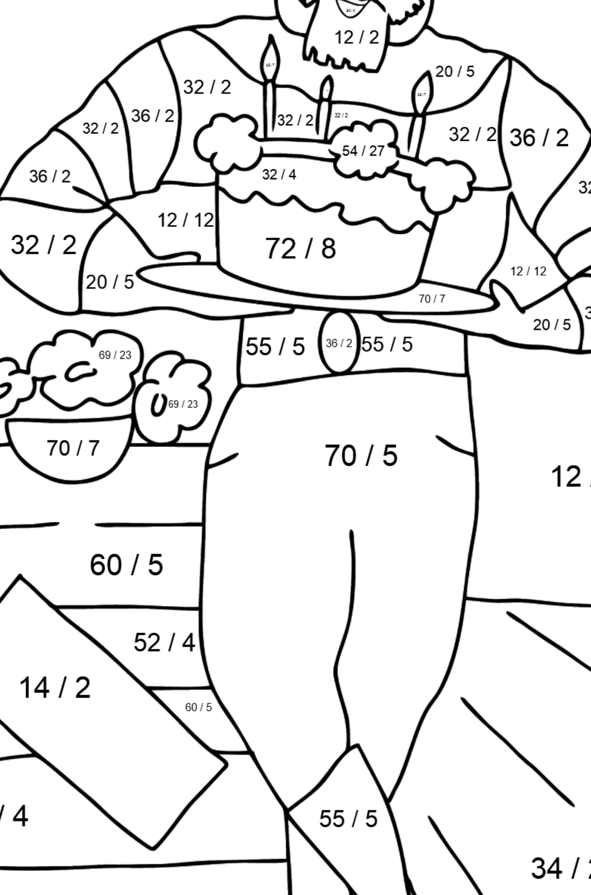 Coloring Page - A Pirate with Cake - Math Coloring - Division for Kids