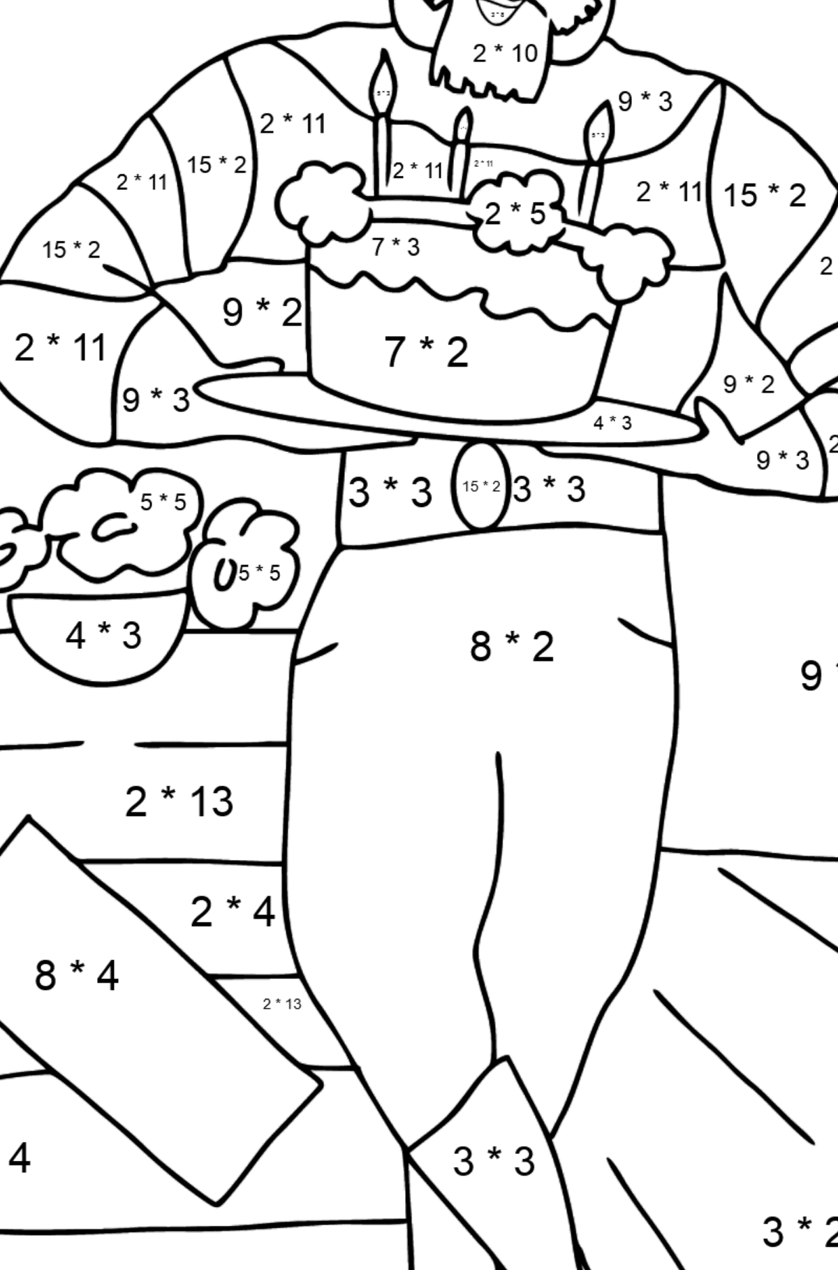Coloring Page - A Pirate with Cake - Math Coloring - Multiplication for Kids