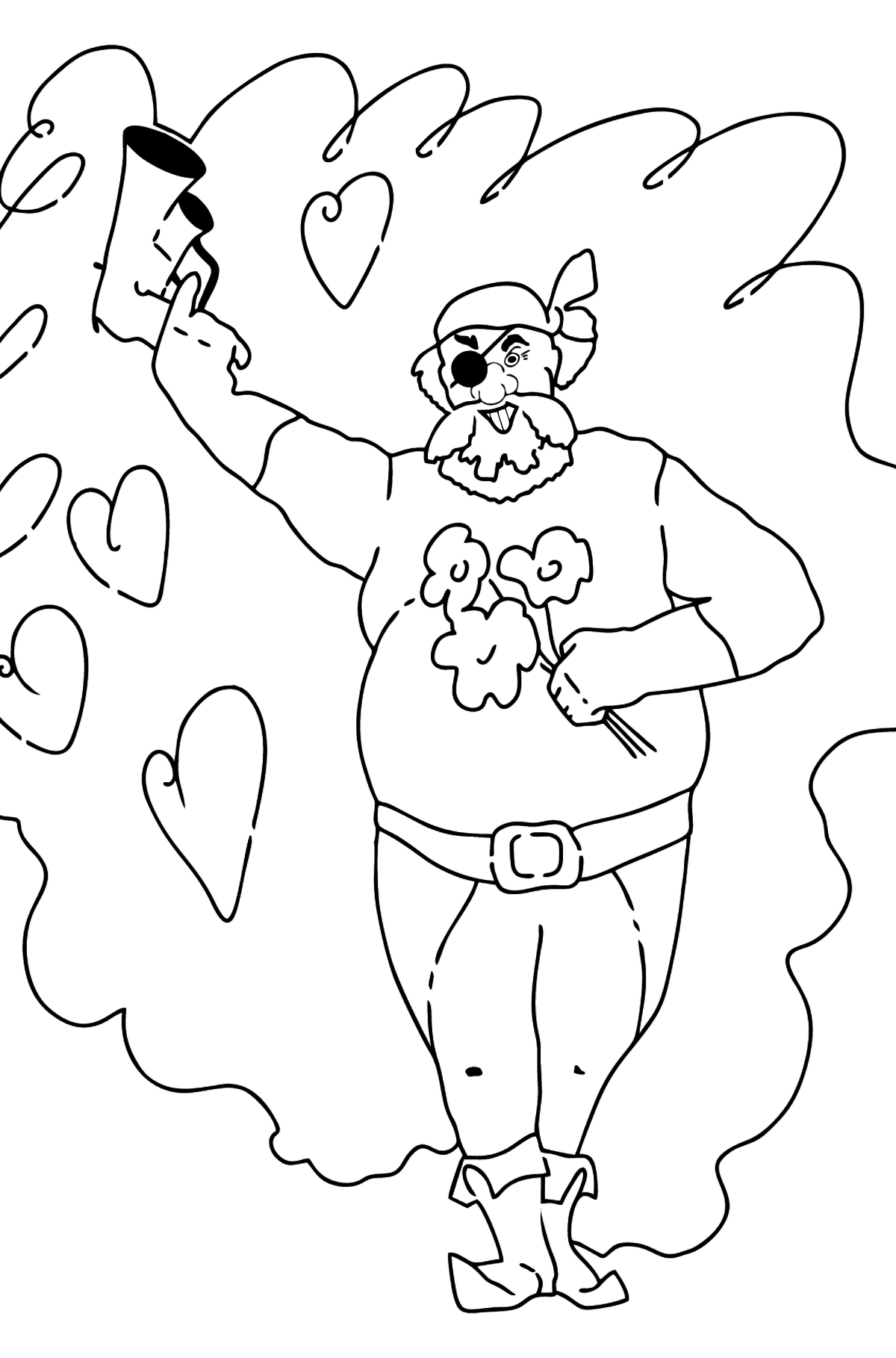 Coloring Page - A Pirate with Flowers - Coloring Pages for Kids