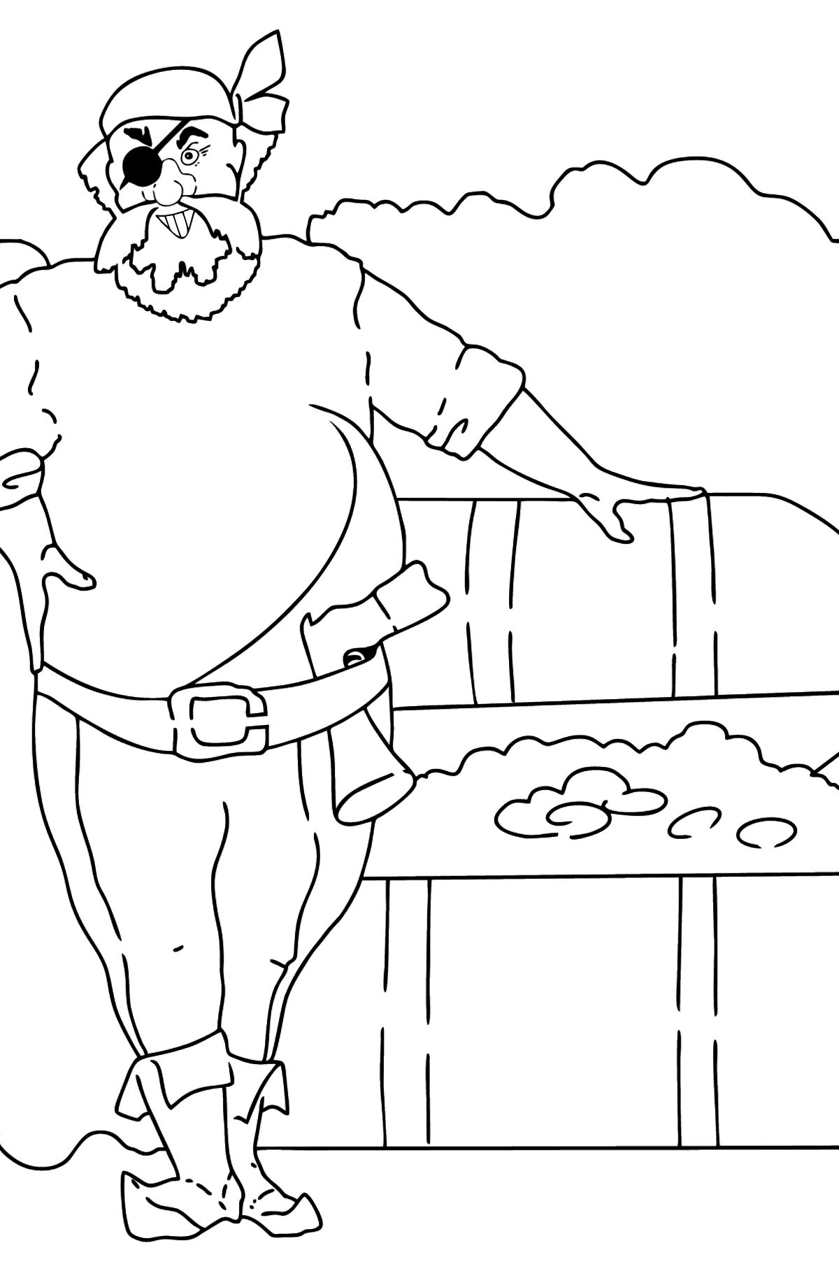 Coloring Page - A Pirate with Treasure - Coloring Pages for Kids