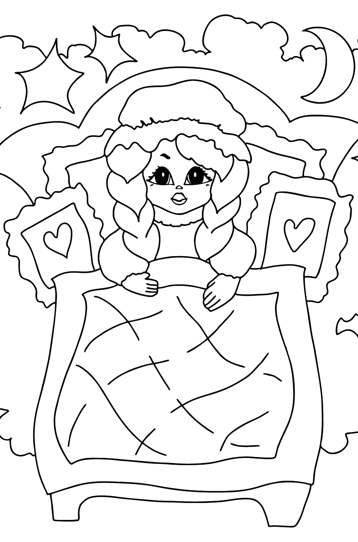 Coloring Page - A Princess in a Bed - for Girls - Coloring Pages for Kids