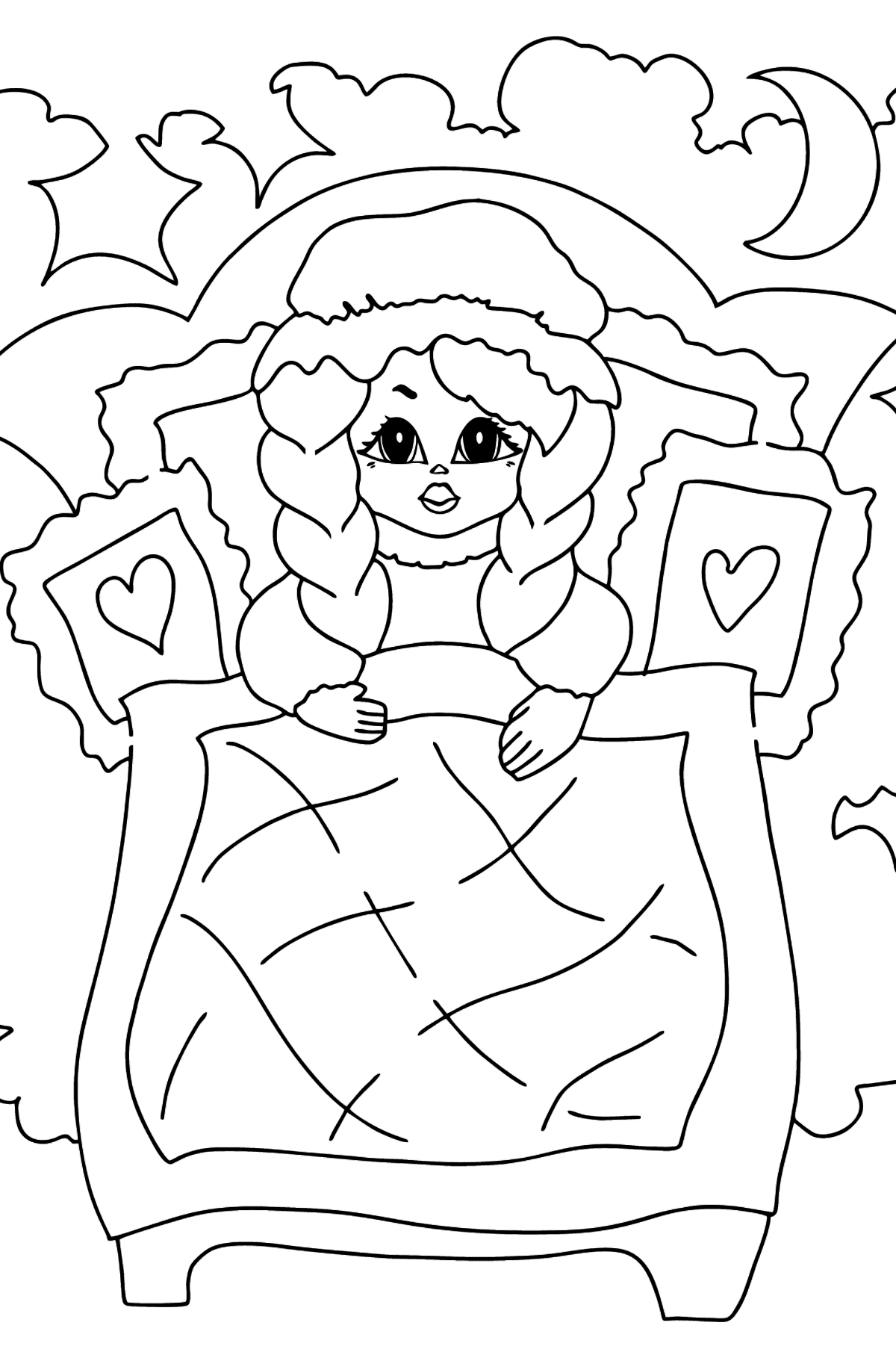 Coloring Page - A Princess in Bed - Coloring Pages for Kids
