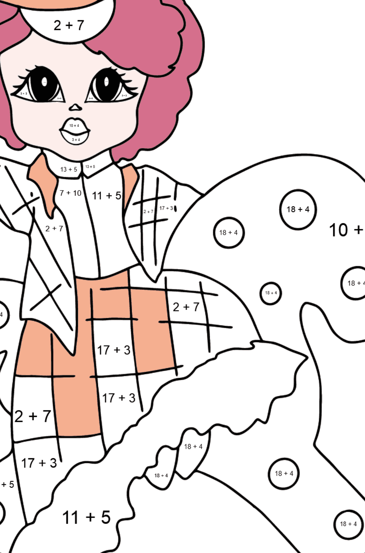 Coloring Page - A Princess on a Horse - For Girls - Math Coloring - Addition for Kids