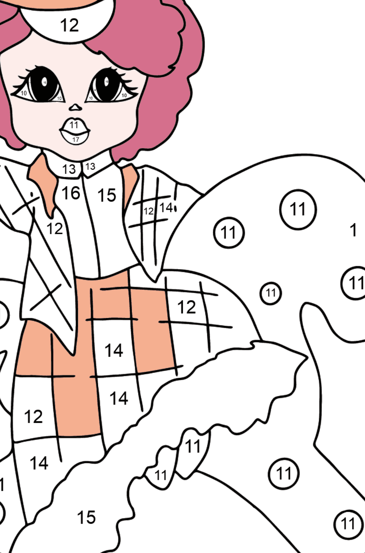 Coloring Page - A Princess on a Horse - For Girls - Coloring by Numbers for Kids
