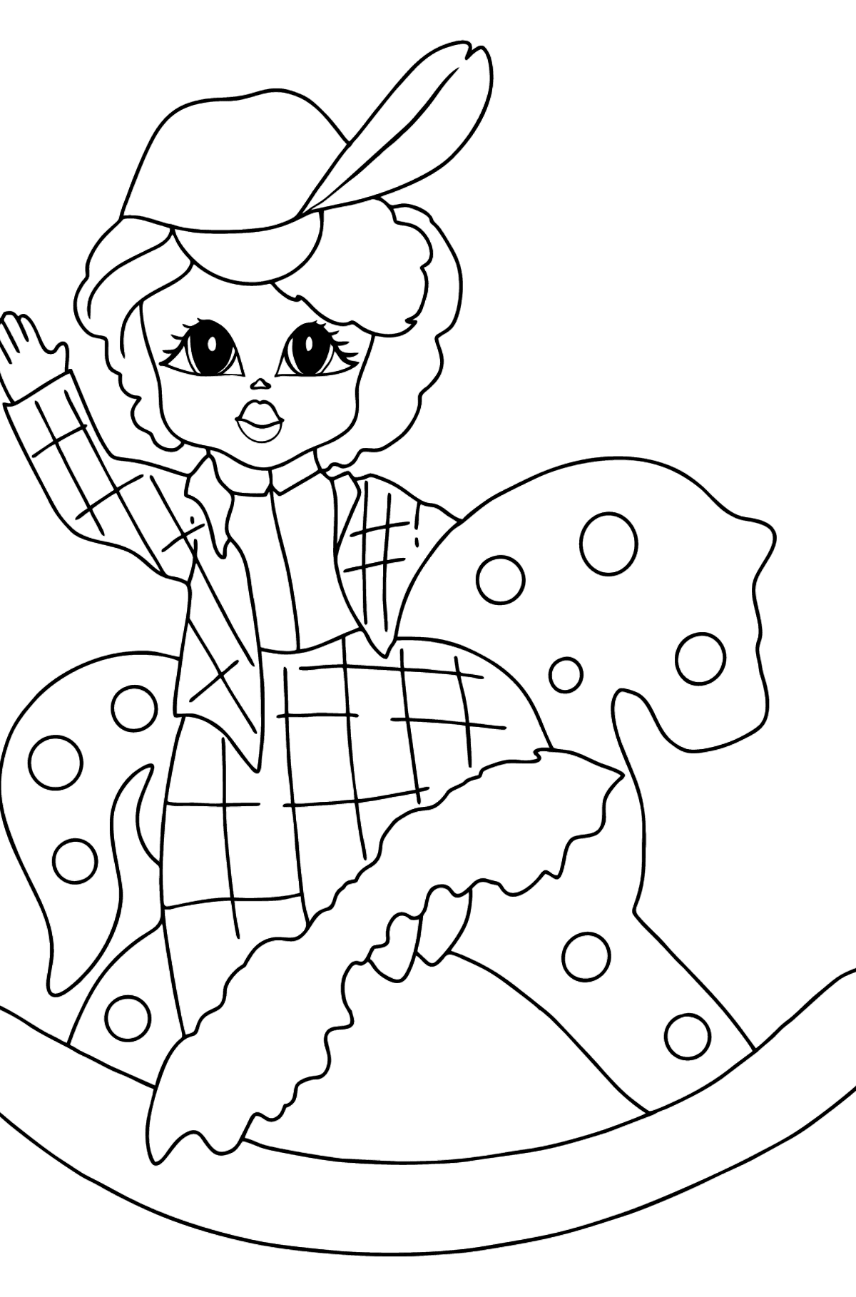 Coloring Page - A Princess on a Horse - For Girls - Coloring Pages for Kids