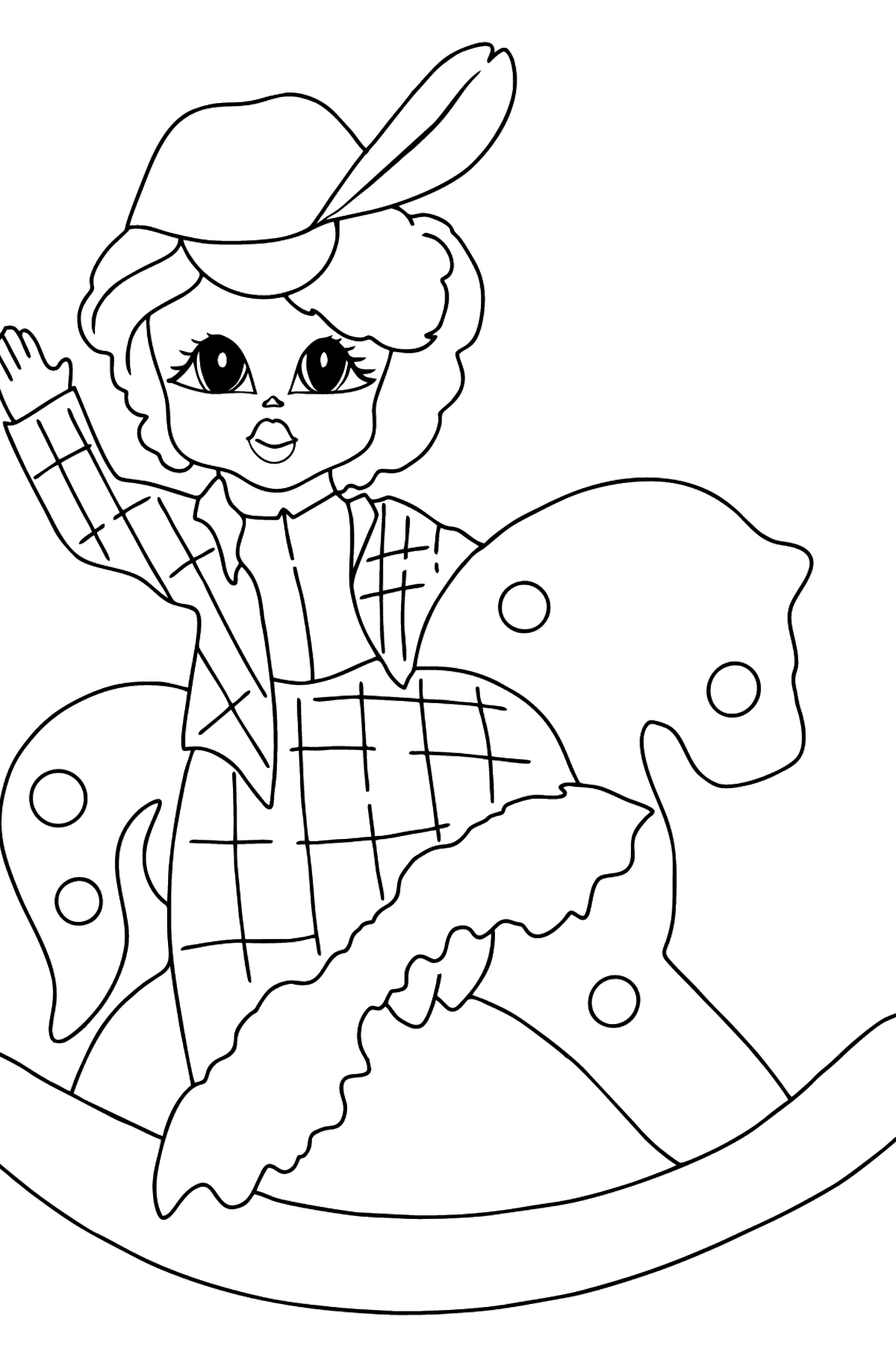 Coloring Page - A Princess on a Horse - Coloring Pages for Kids