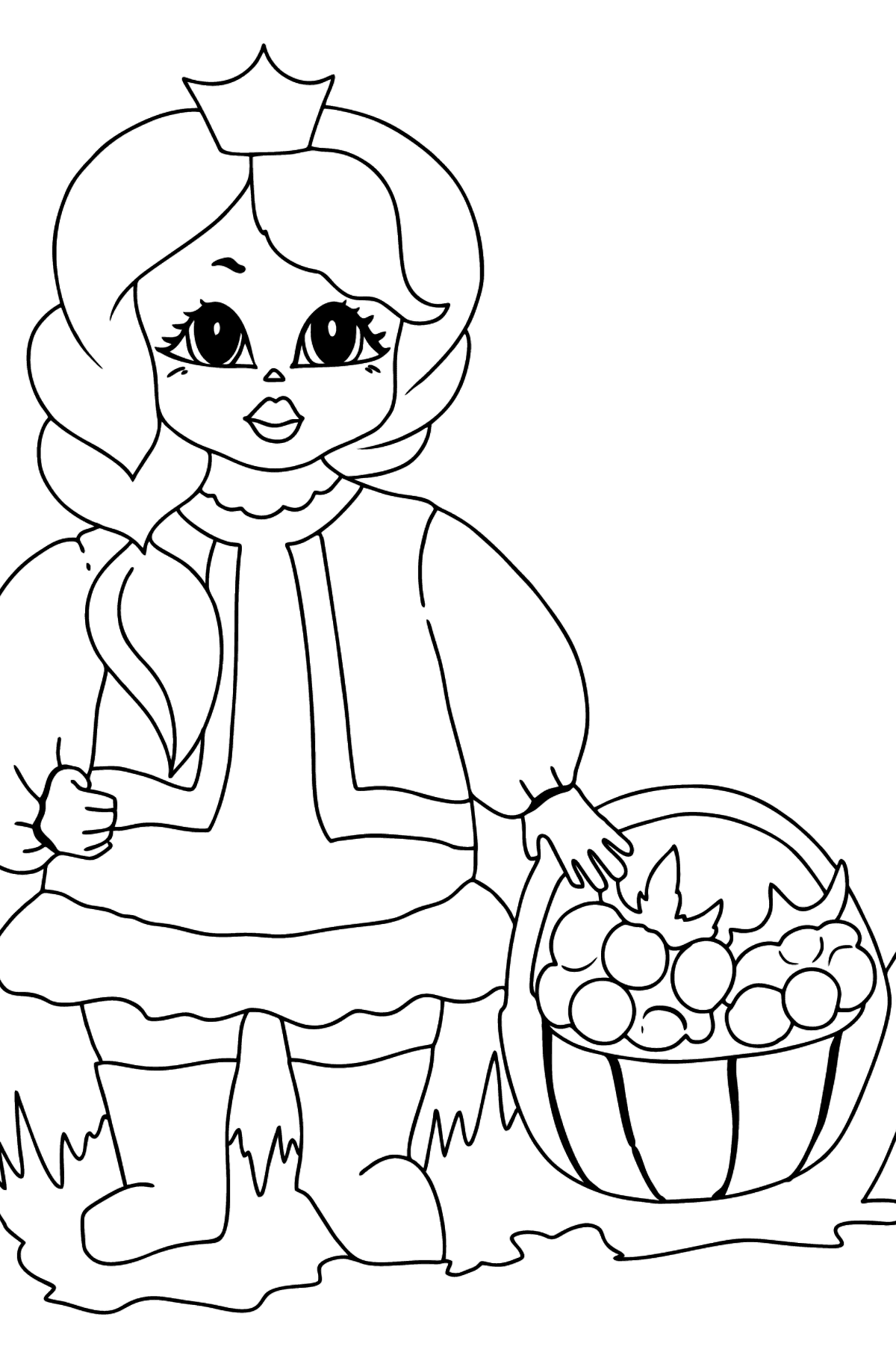 Coloring Page - A Princess with a Basket - For Girls - Coloring Pages for Kids