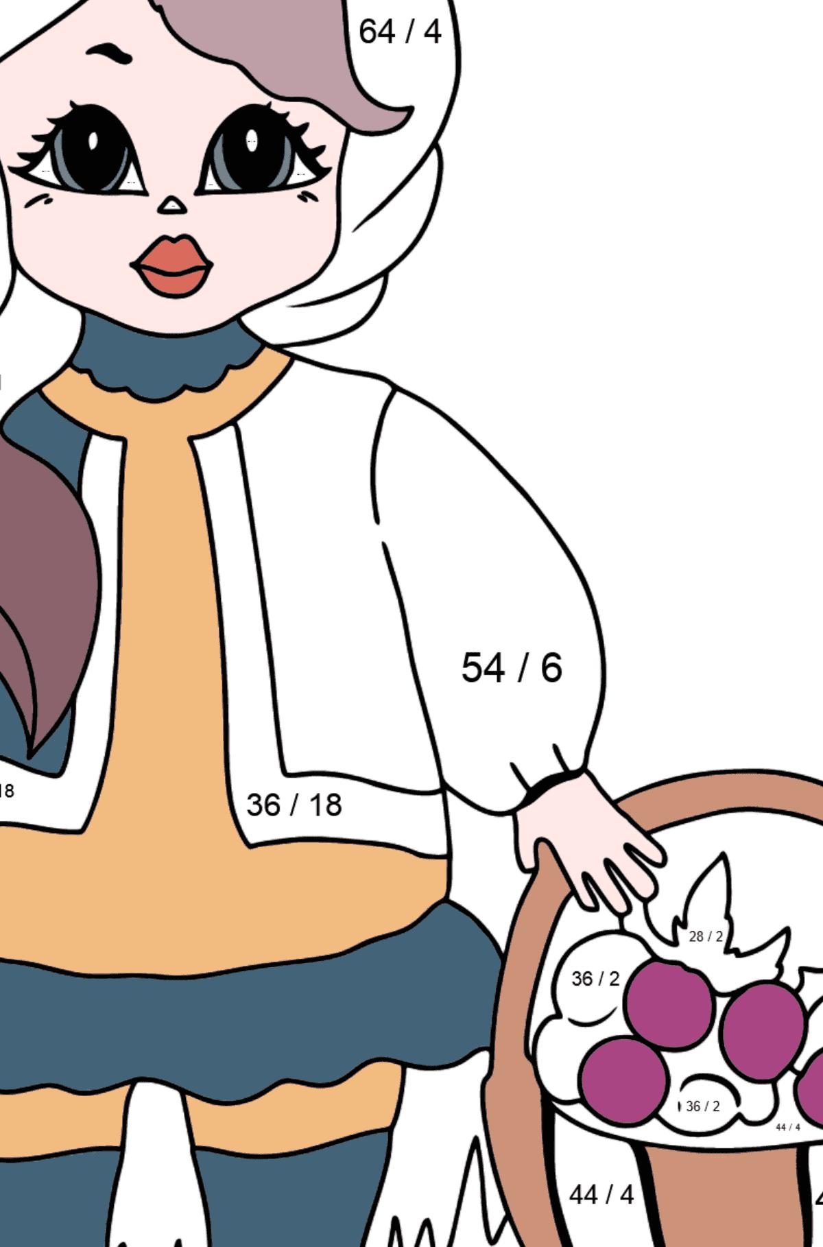 Раскраска Принцесса с Корзиной Для Девочек - Математическая Раскраска - Деление для Детей