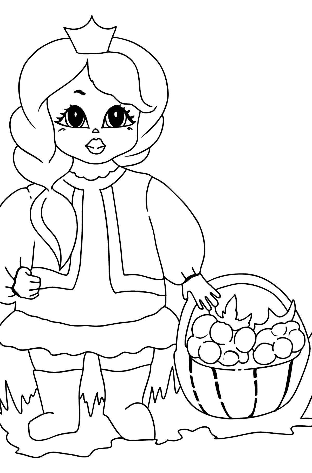 Coloring Page - A Princess with a Basket - Coloring Pages for Kids