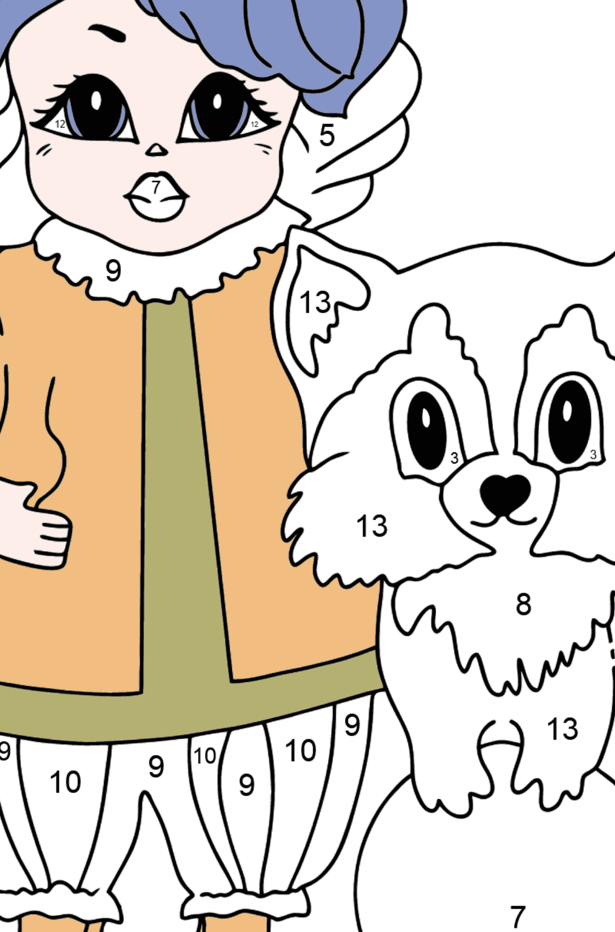 Coloring Page - A Princess with a Cat and a Racoon - Coloring by Numbers for Kids
