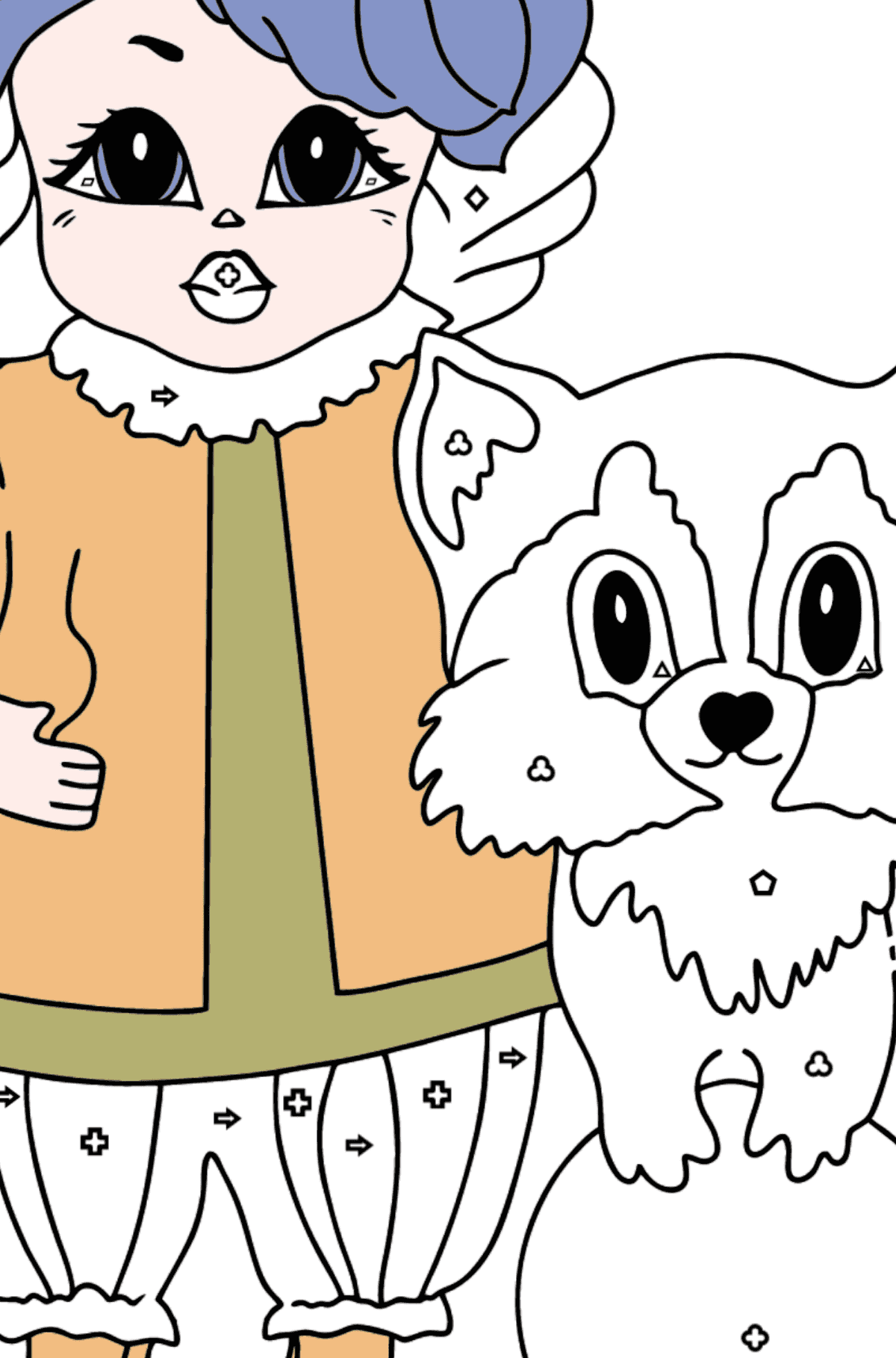 Coloring Page - A Princess with a Cat and a Racoon - Coloring by Geometric Shapes for Kids