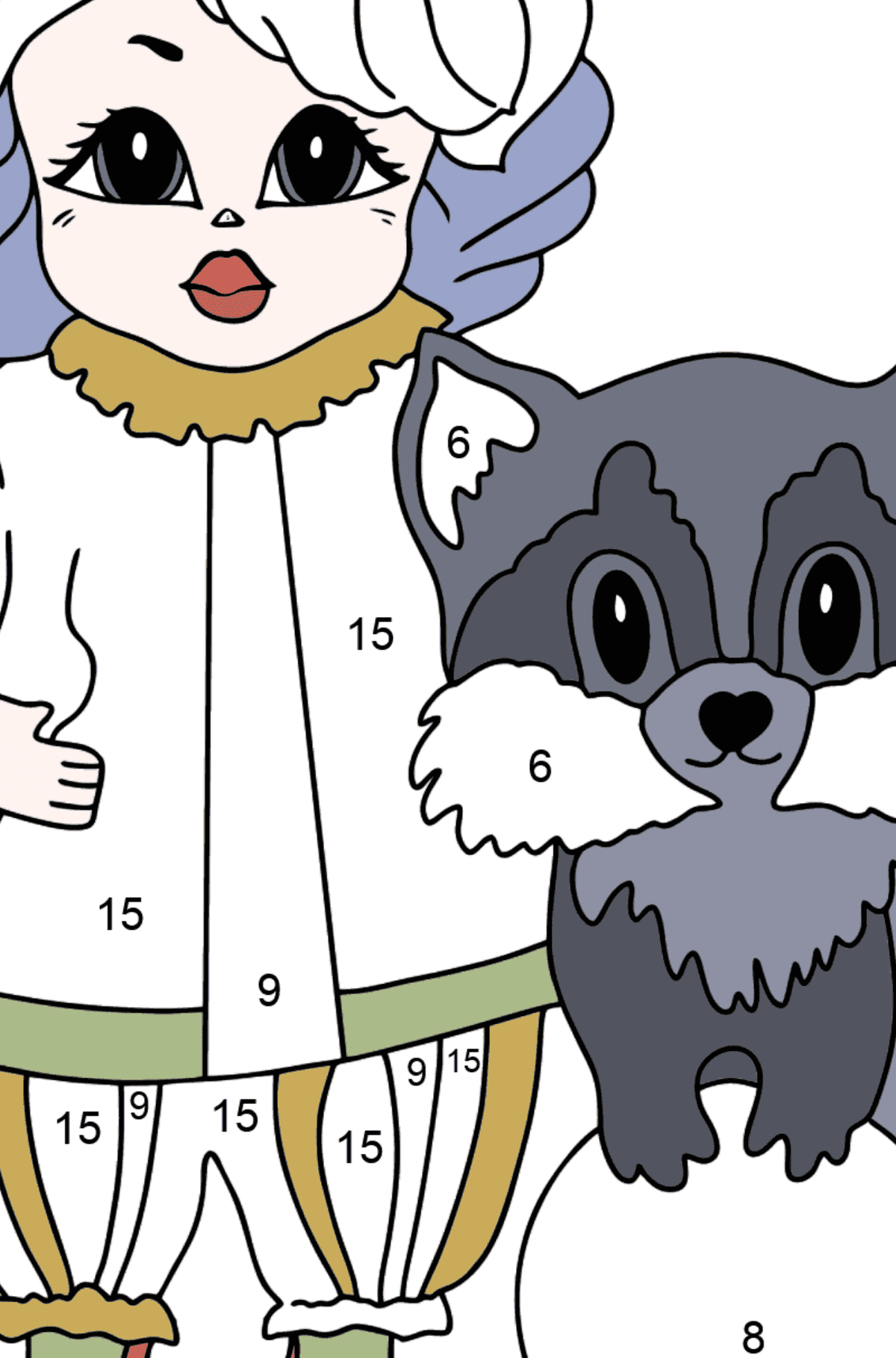 Coloring Page - A Princess with a Cat and a Racoon - For Girls - Coloring by Numbers for Kids