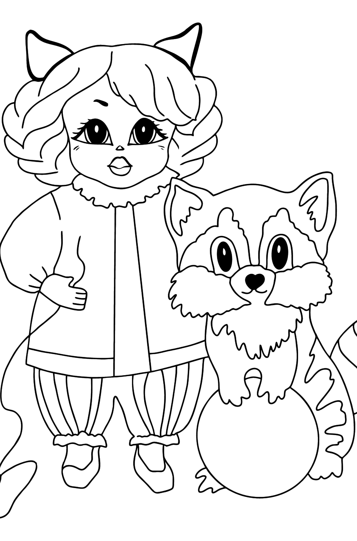 Coloring Page - A Princess with a Cat and a Racoon - For Girls - Coloring Pages for Kids