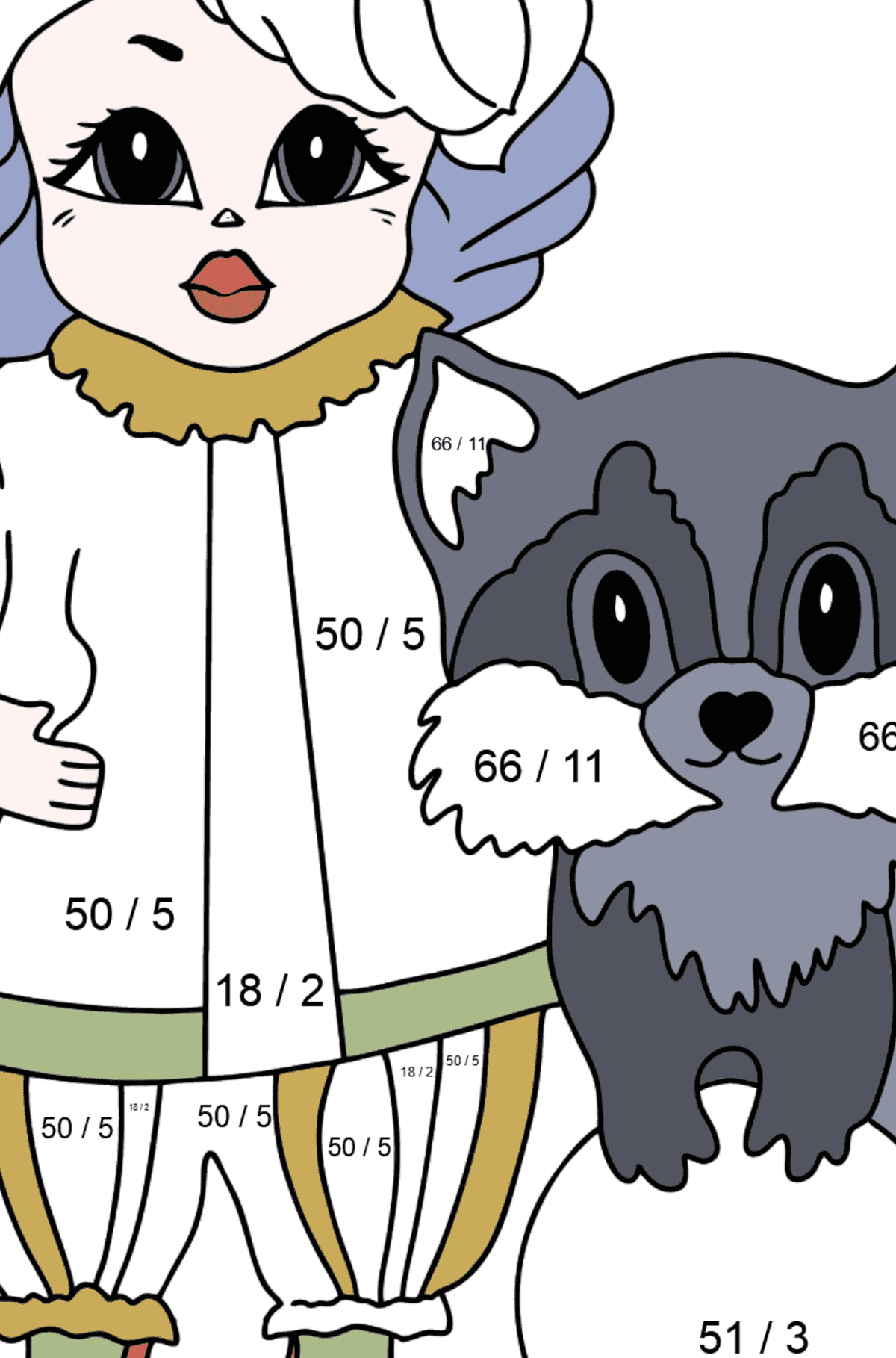 Coloring Page - A Princess with a Cat and a Racoon - For Girls - Math Coloring - Division for Kids